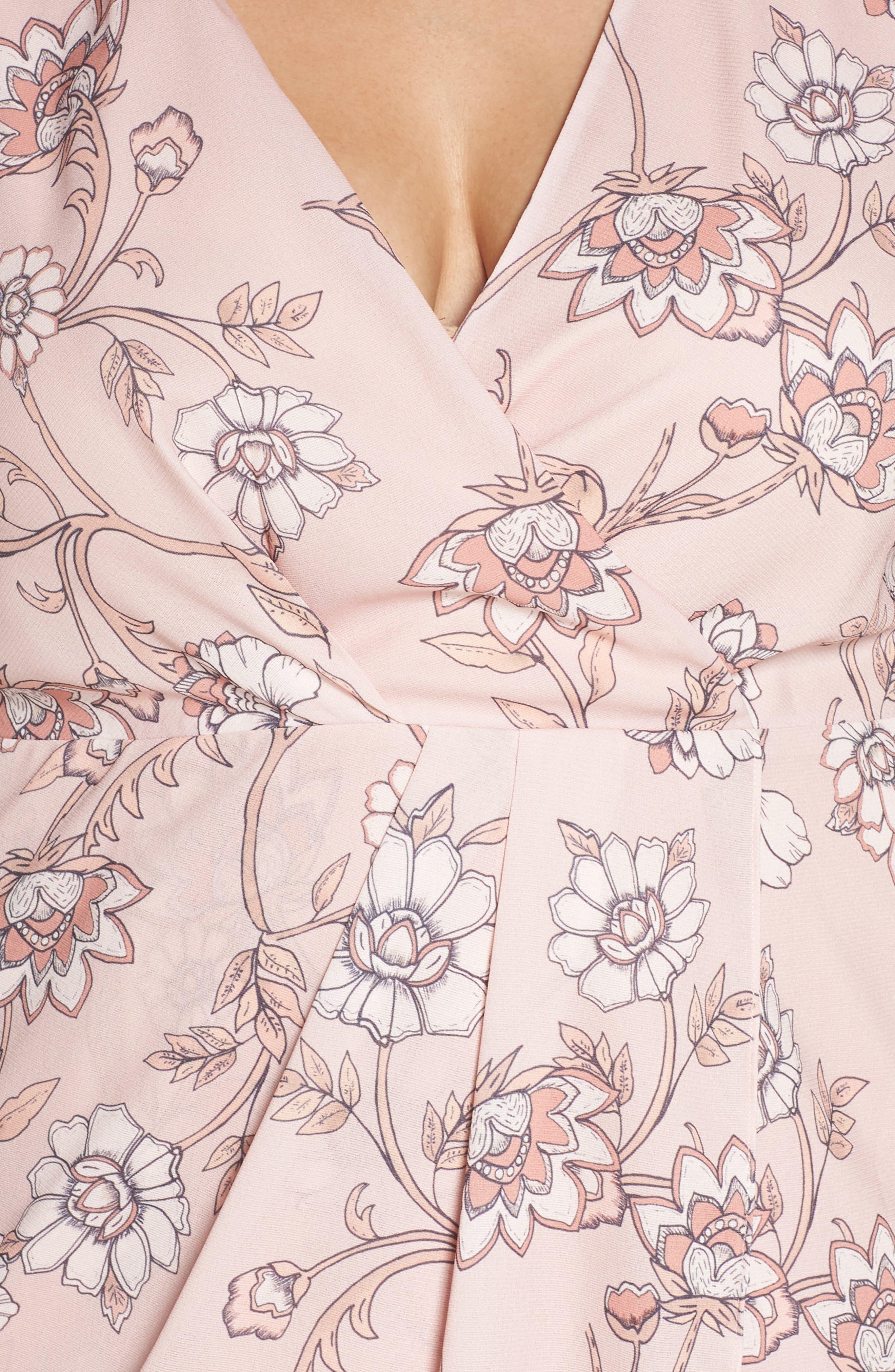 Fiorella Floral Drape Sheath Dress,                             Alternate thumbnail 4, color,                             650