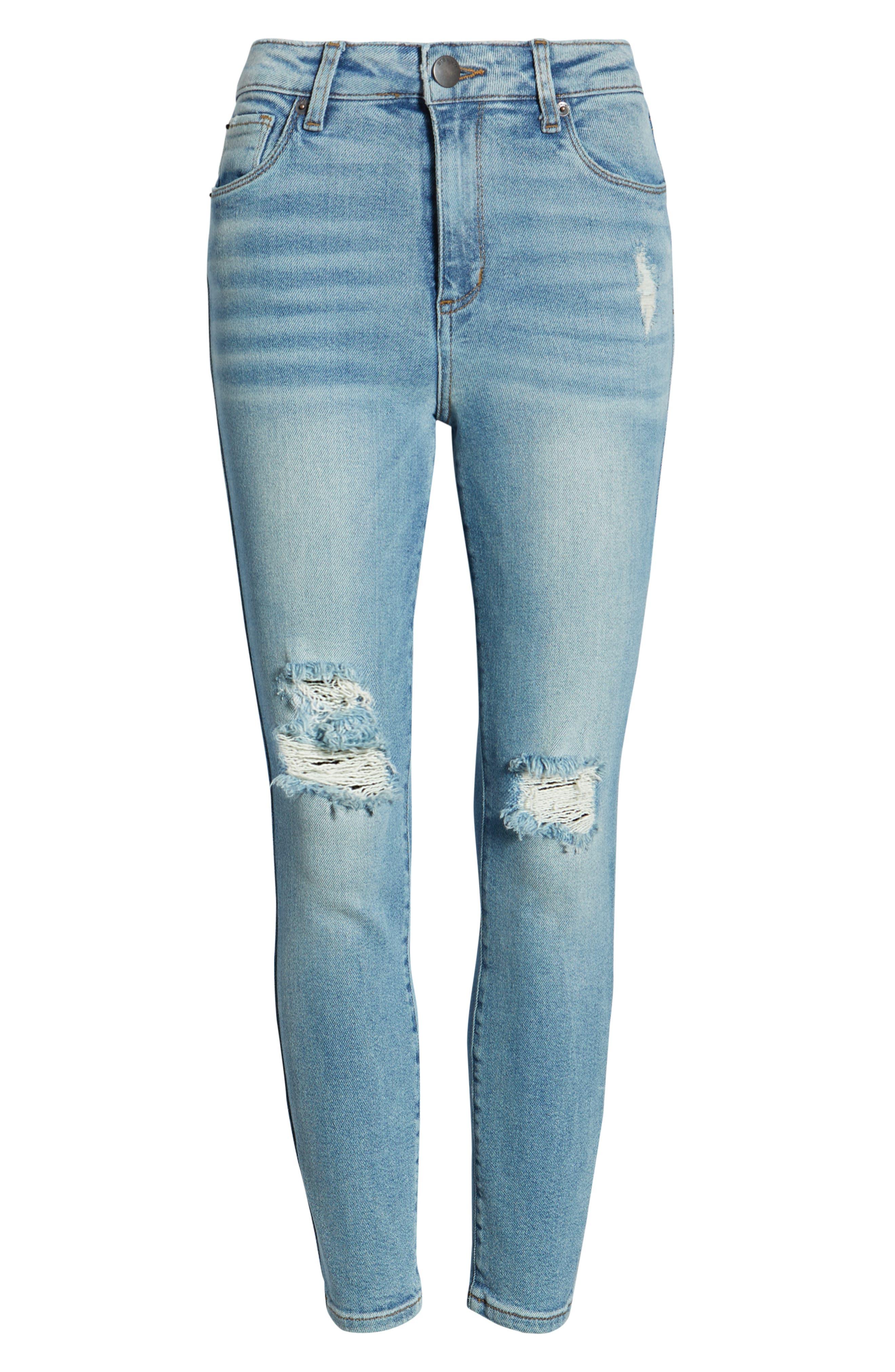 Brie High Waist Ripped Skinny Jeans,                             Alternate thumbnail 7, color,                             BRADFORD LIGHT WASH