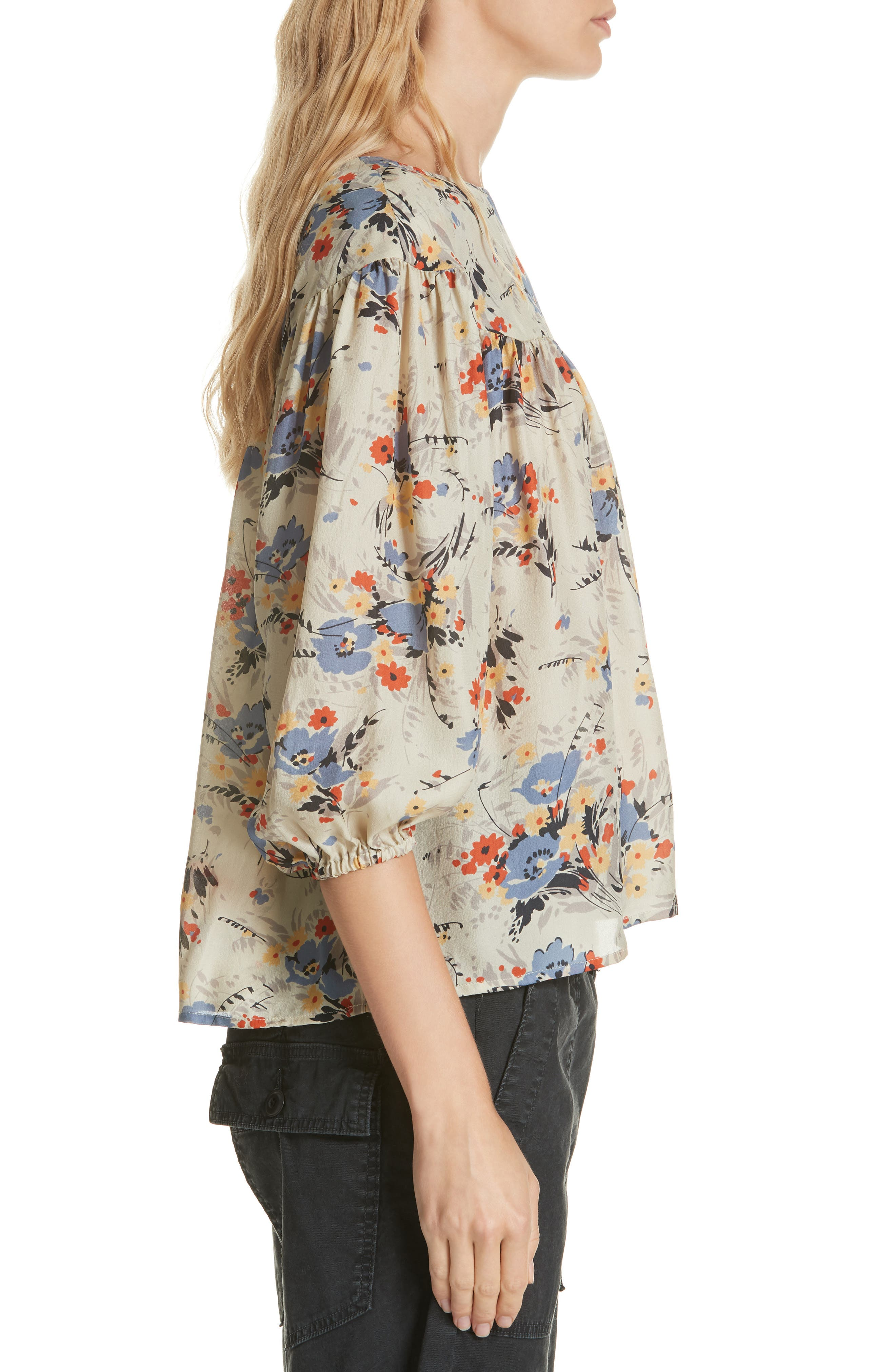 Duskfall Silk Blouse,                             Alternate thumbnail 3, color,                             WOODLAND FLORAL