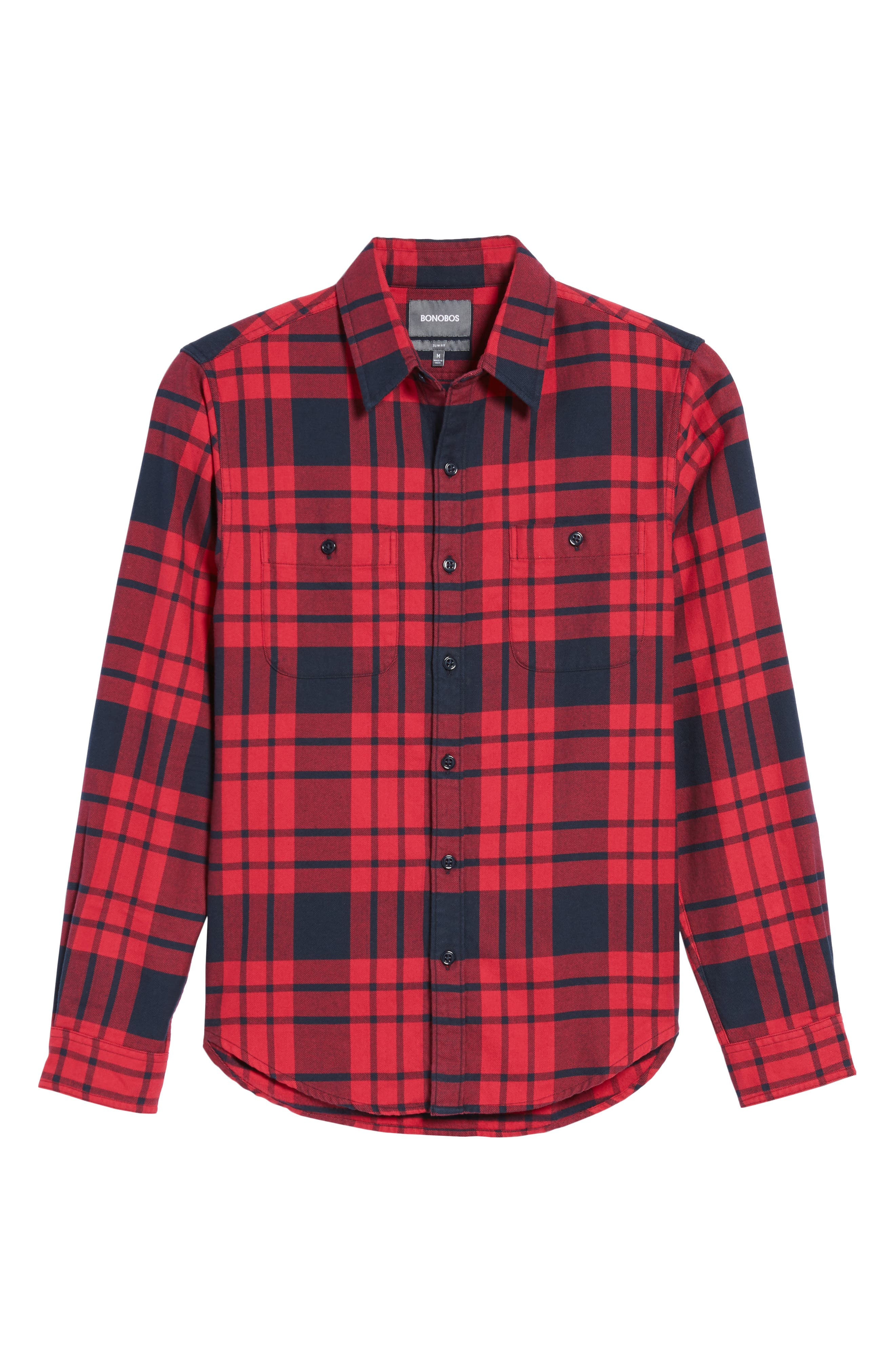 Slim Fit Plaid Flannel Shirt,                             Alternate thumbnail 6, color,