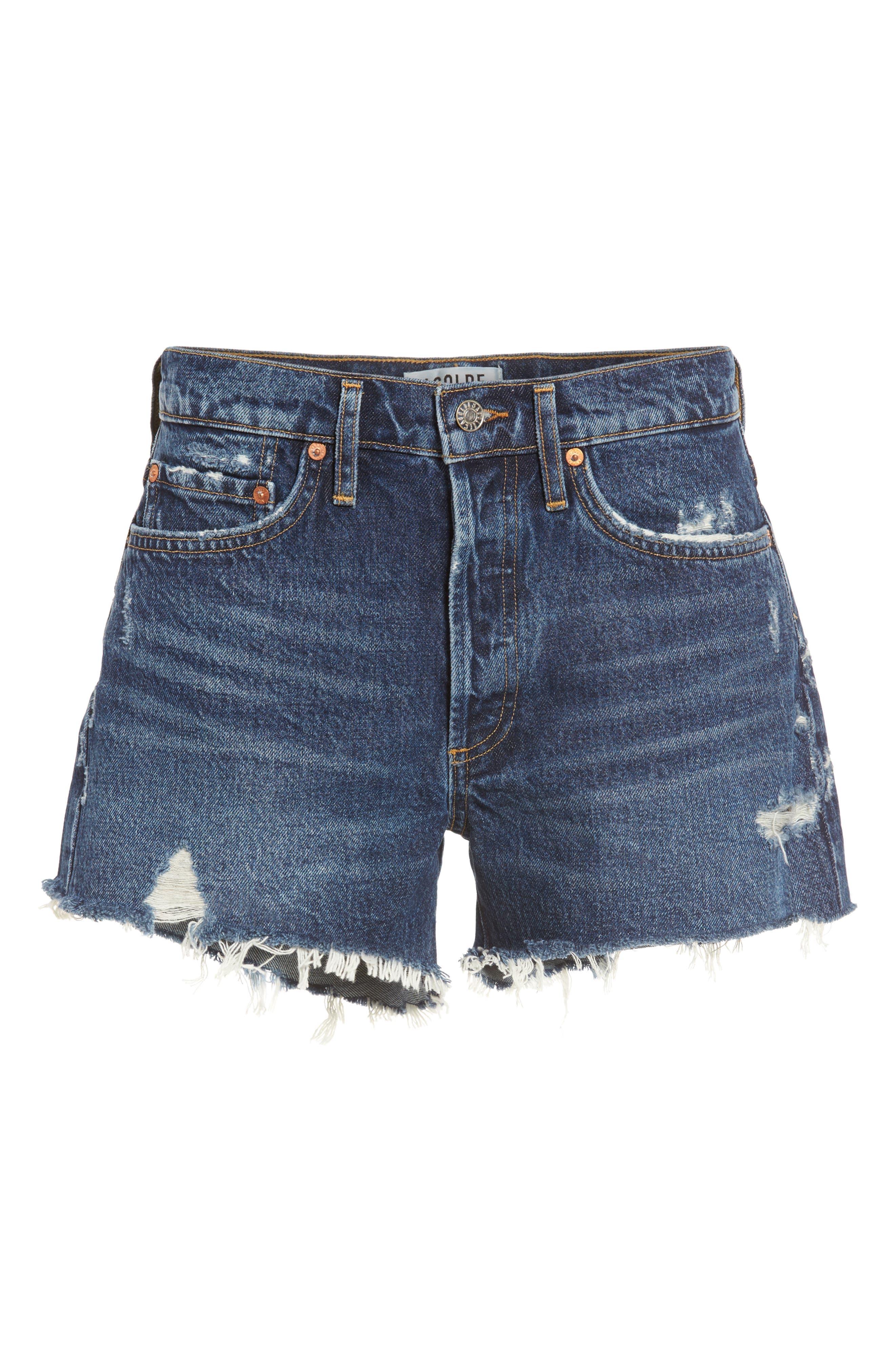 Parker Distressed Denim Shorts,                             Alternate thumbnail 6, color,                             474