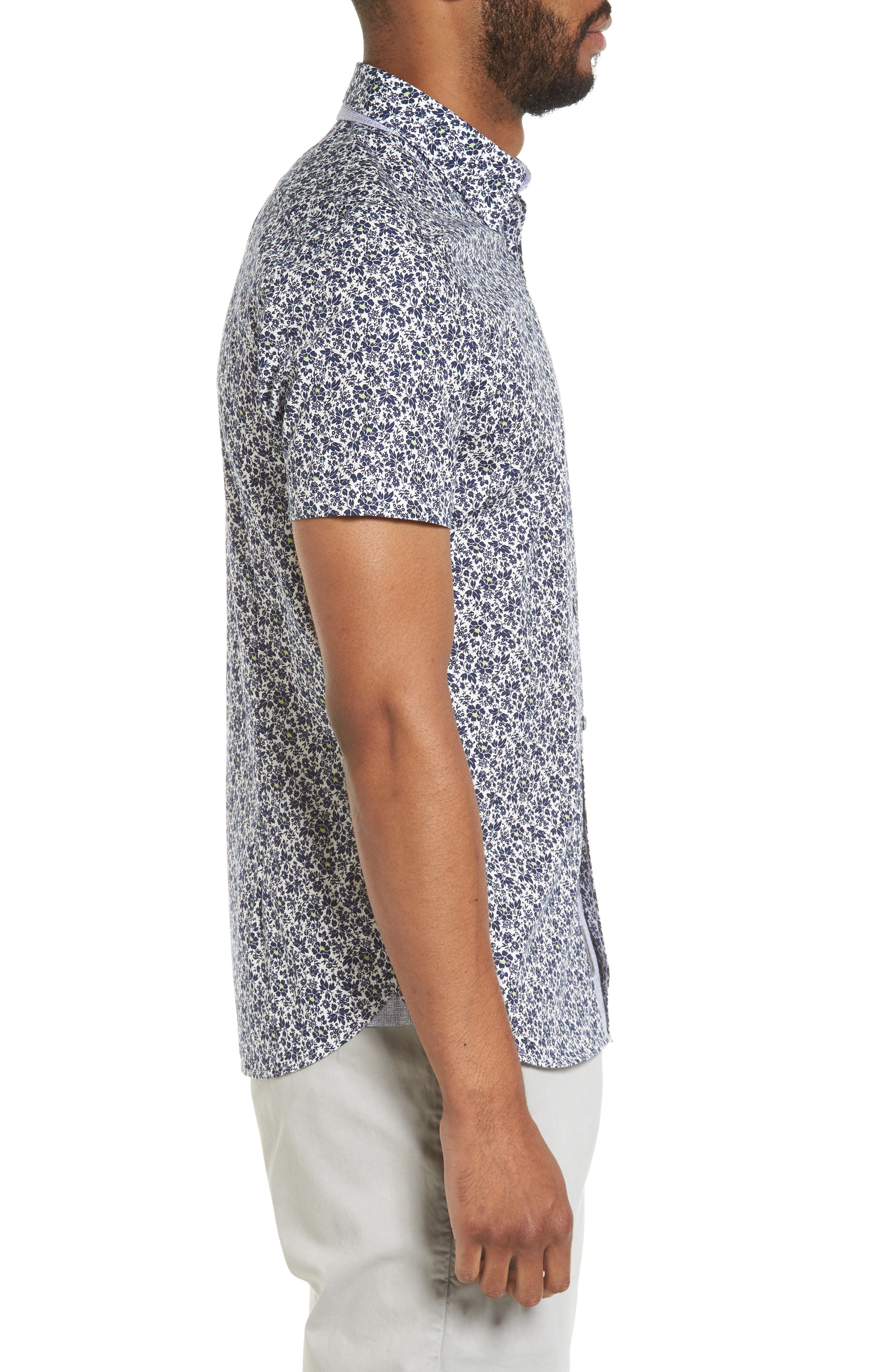 Alygar Slim Fit Floral Woven Shirt,                             Alternate thumbnail 3, color,                             402