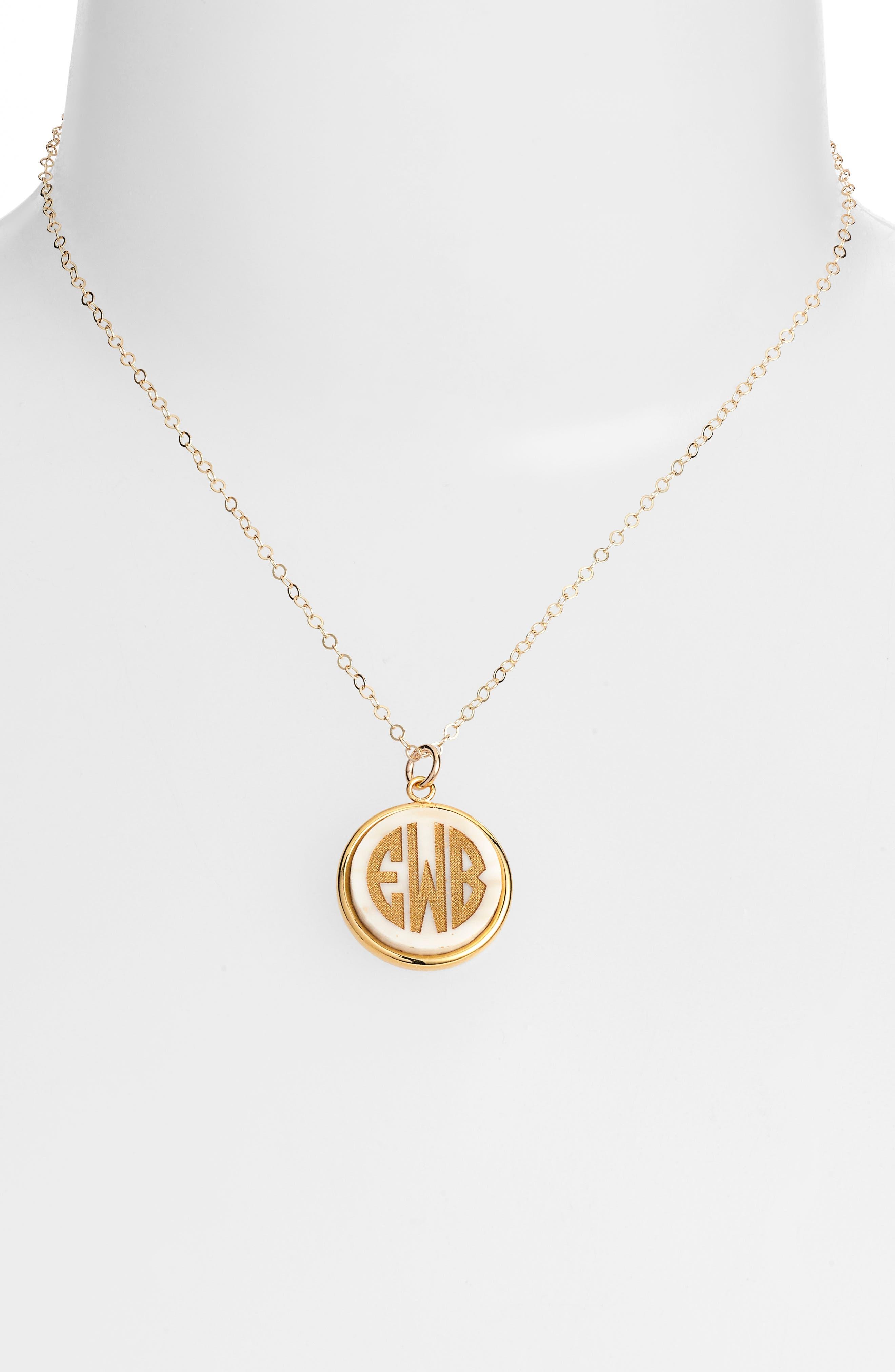 'Vineyard' Personalized Monogram Pendant Necklace,                             Alternate thumbnail 15, color,