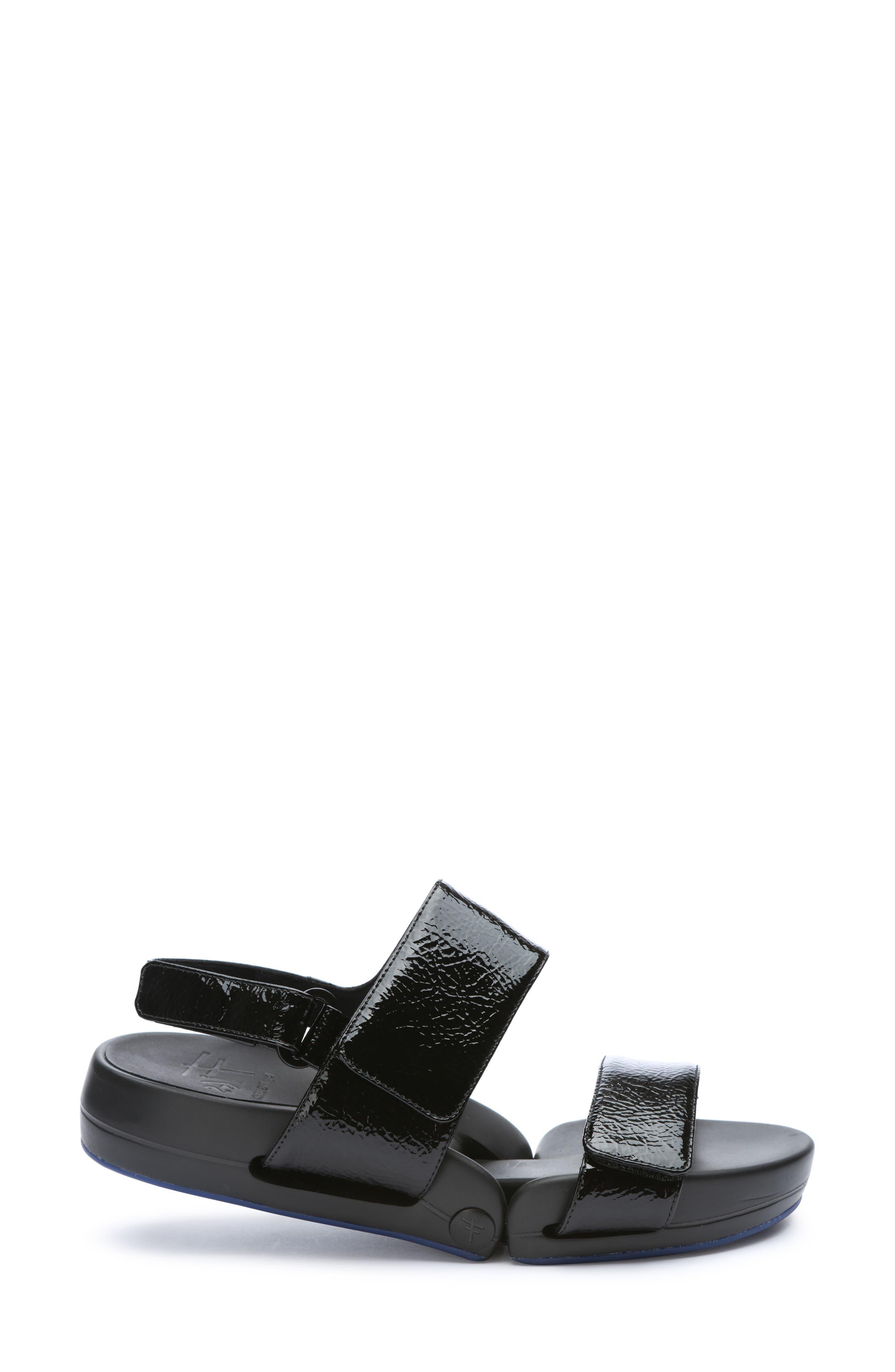 Figulous Sandal,                             Alternate thumbnail 3, color,                             BLACK CRINKLE PATENT LEATHER