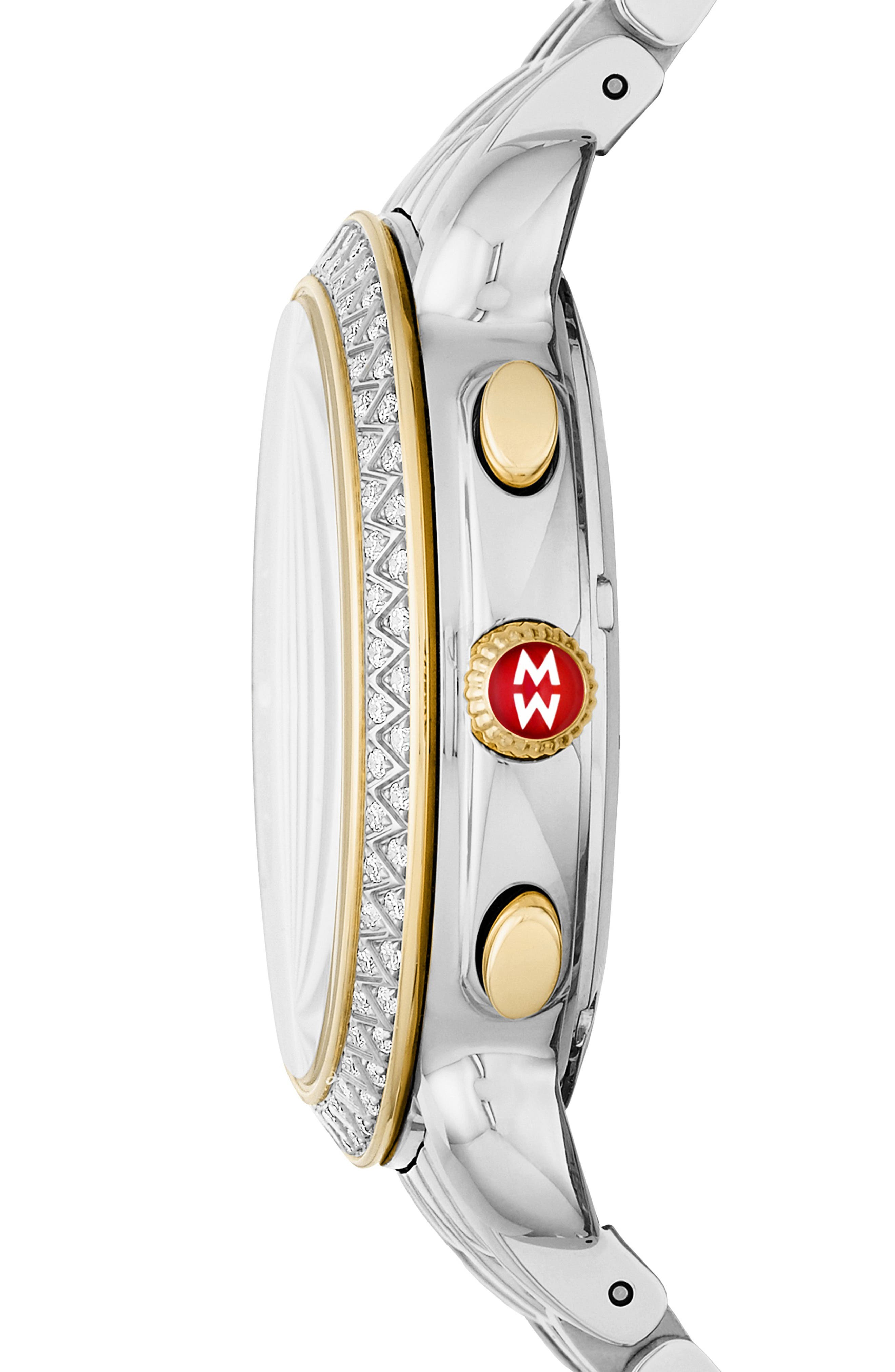 Sidney Chrono Diamond Diamond Dial Watch Case, 38mm,                             Alternate thumbnail 2, color,                             GOLD/ SILVER/ DESERT ROSE MOP