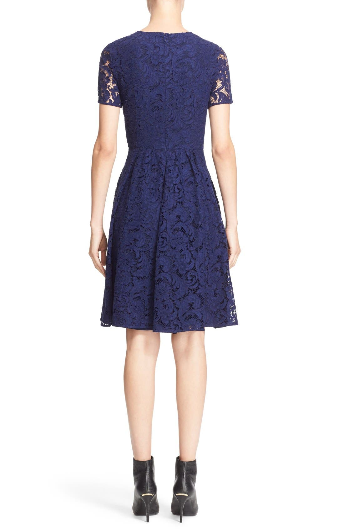 BURBERRY LONDON,                             'Alice' Short Sleeve Corded Lace Fit & Flare Dress,                             Alternate thumbnail 3, color,                             495