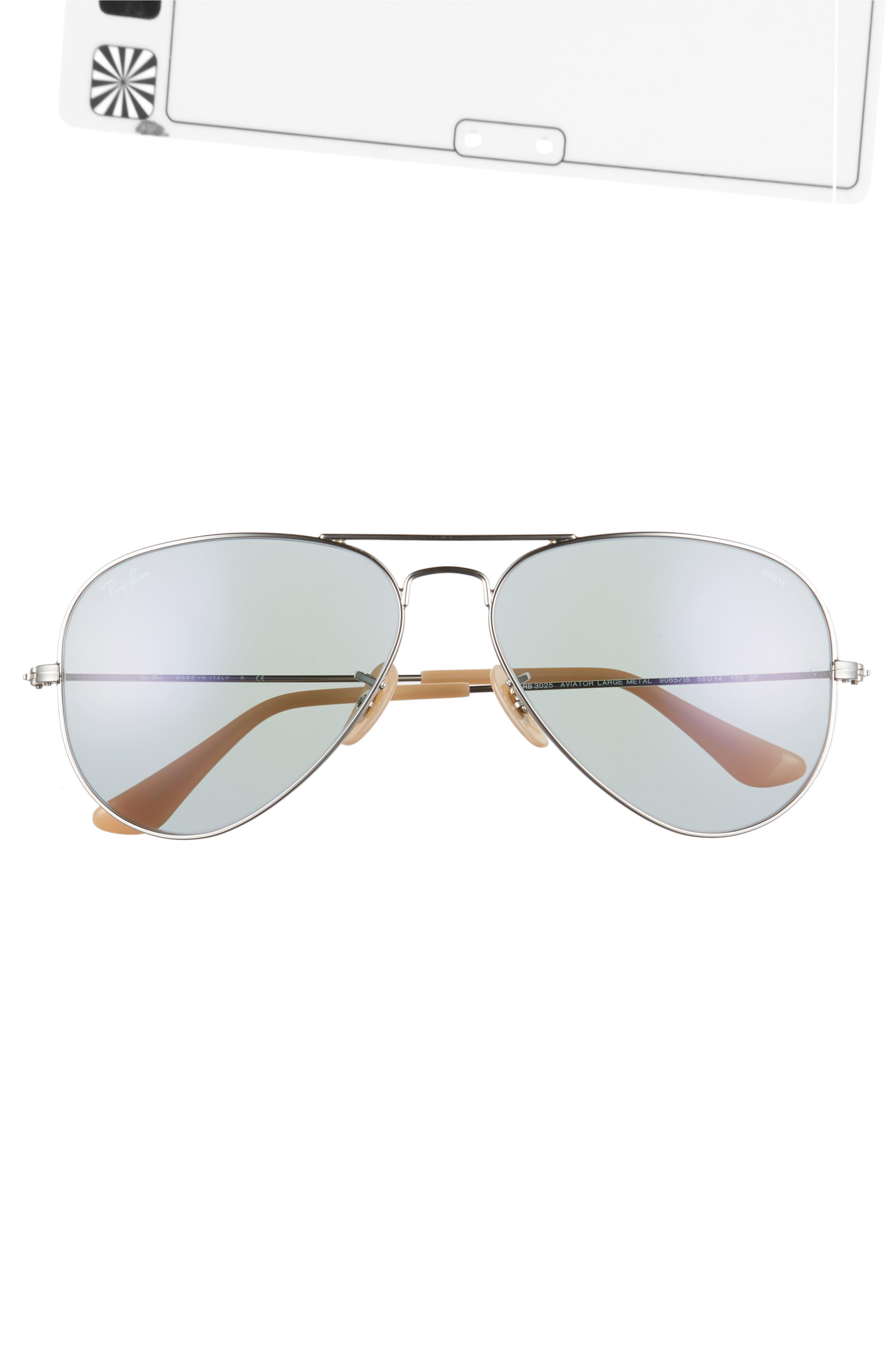 RAY-BAN,                             58mm Photochromic Aviator Sunglasses,                             Alternate thumbnail 3, color,                             040