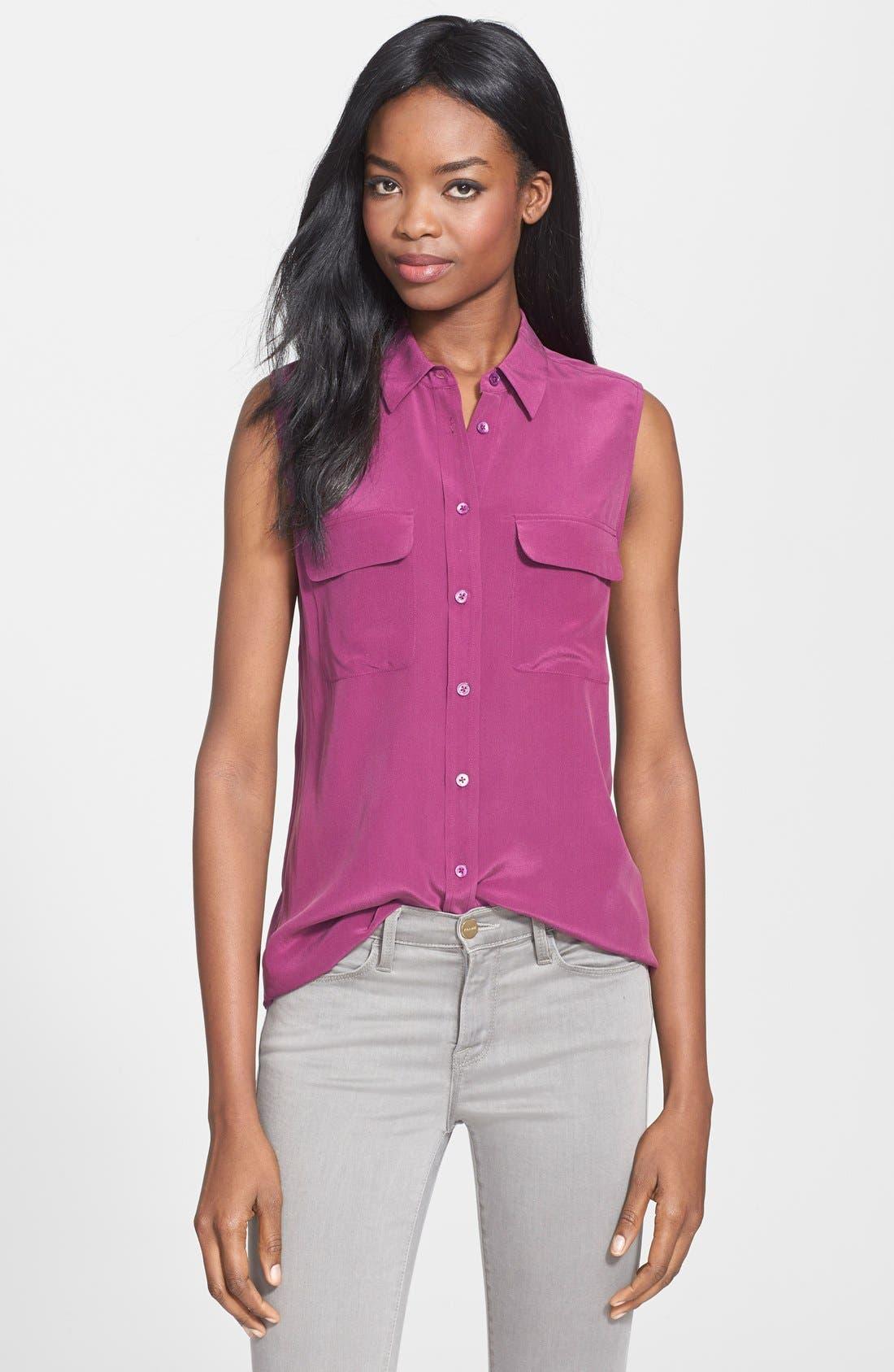 'Slim Signature' Sleeveless Silk Shirt,                             Main thumbnail 35, color,