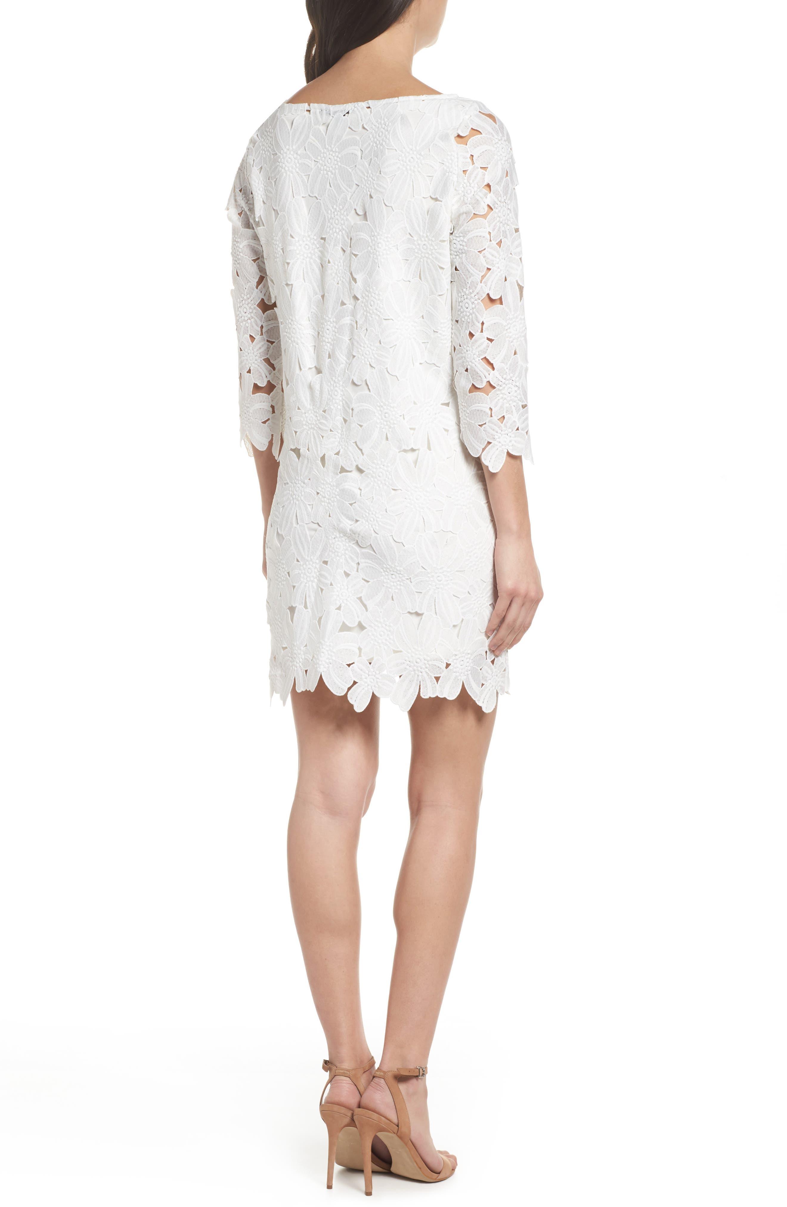 Belza Floral Lace Shift Dress,                             Alternate thumbnail 2, color,                             100
