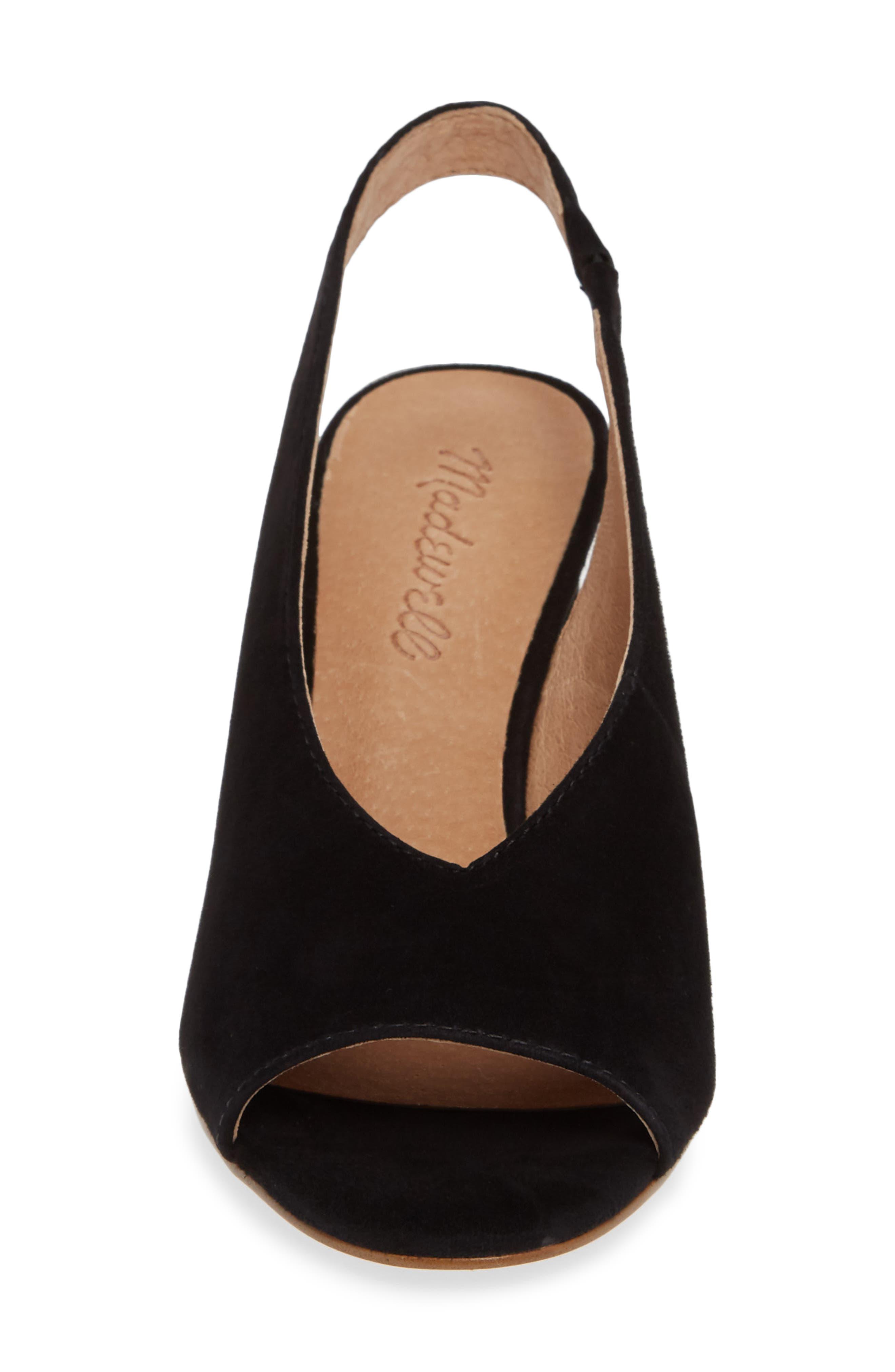 The Alana Slingback Sandal,                             Alternate thumbnail 4, color,                             TRUE BLACK SUEDE