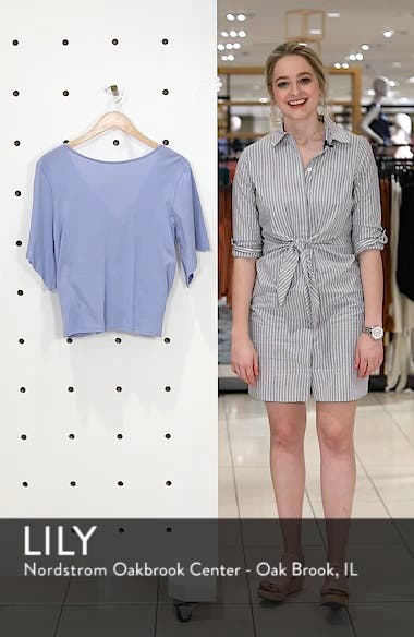Knot Front Flutter Sleeve Tee, sales video thumbnail