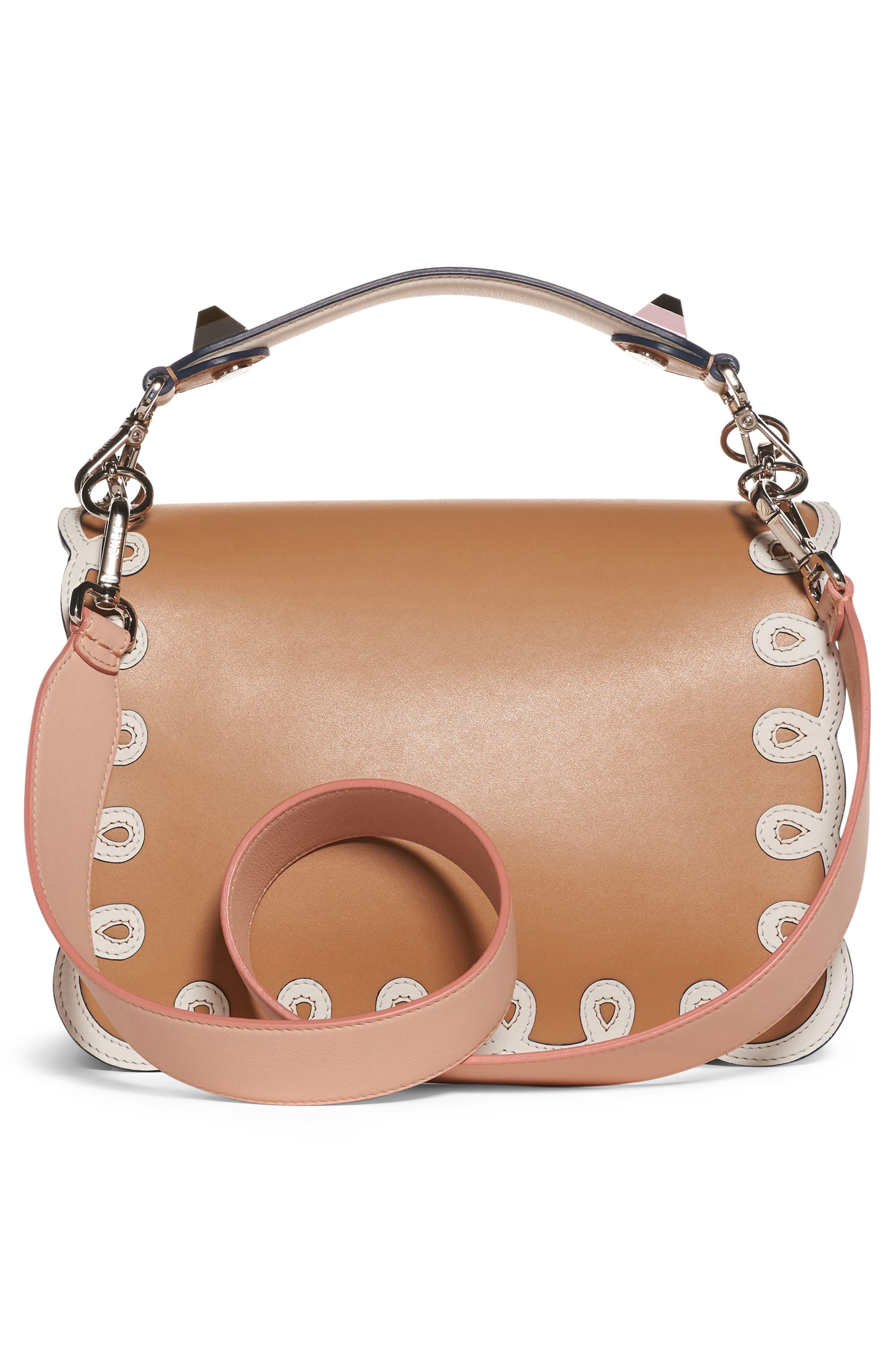 Kan I Scalloped Leather Shoulder Bag,                             Alternate thumbnail 2, color,                             CUIO/WHITE