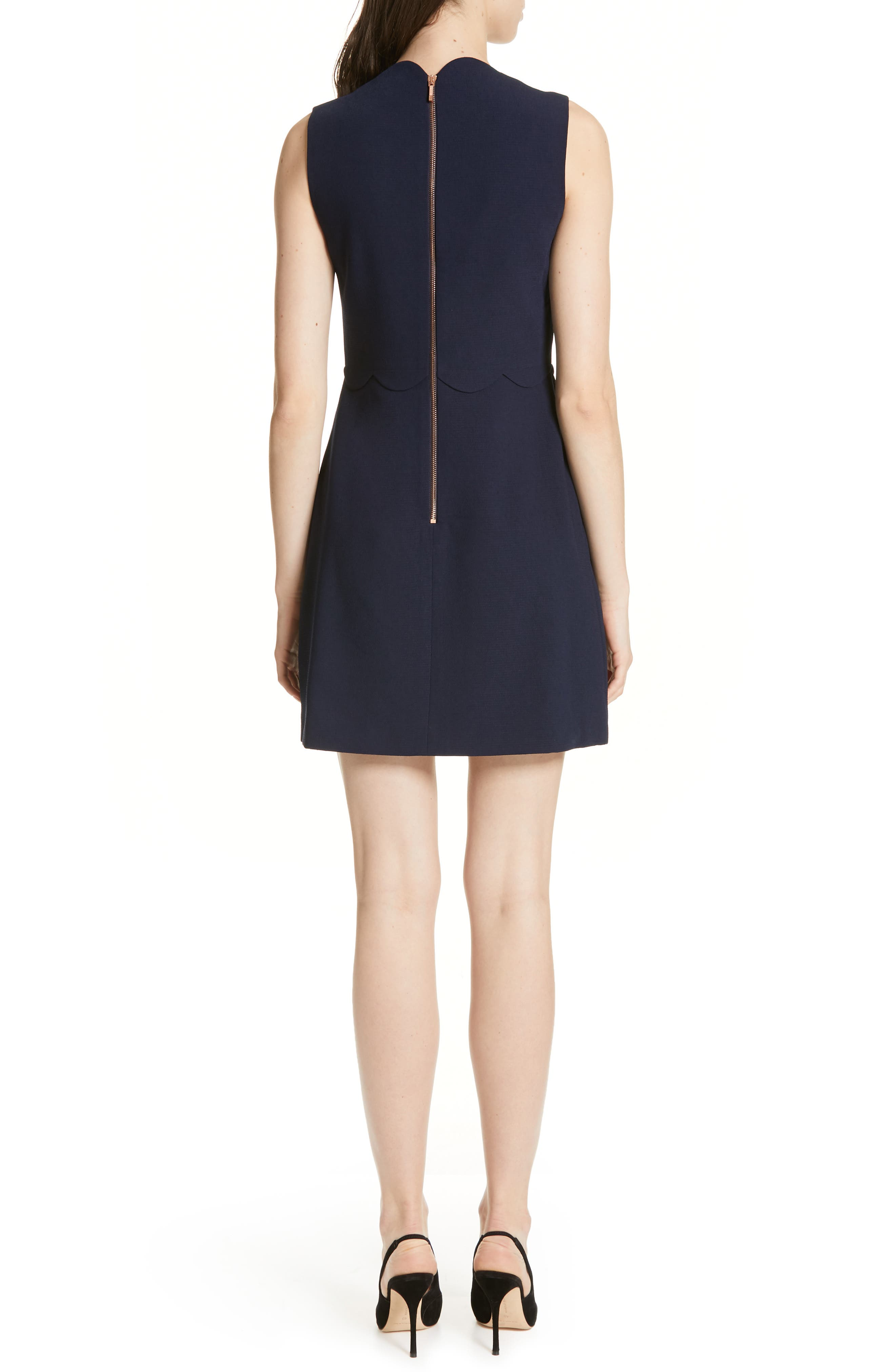 Rubeyed Scallop Edge A-Line Dress,                             Alternate thumbnail 2, color,                             DARK BLUE