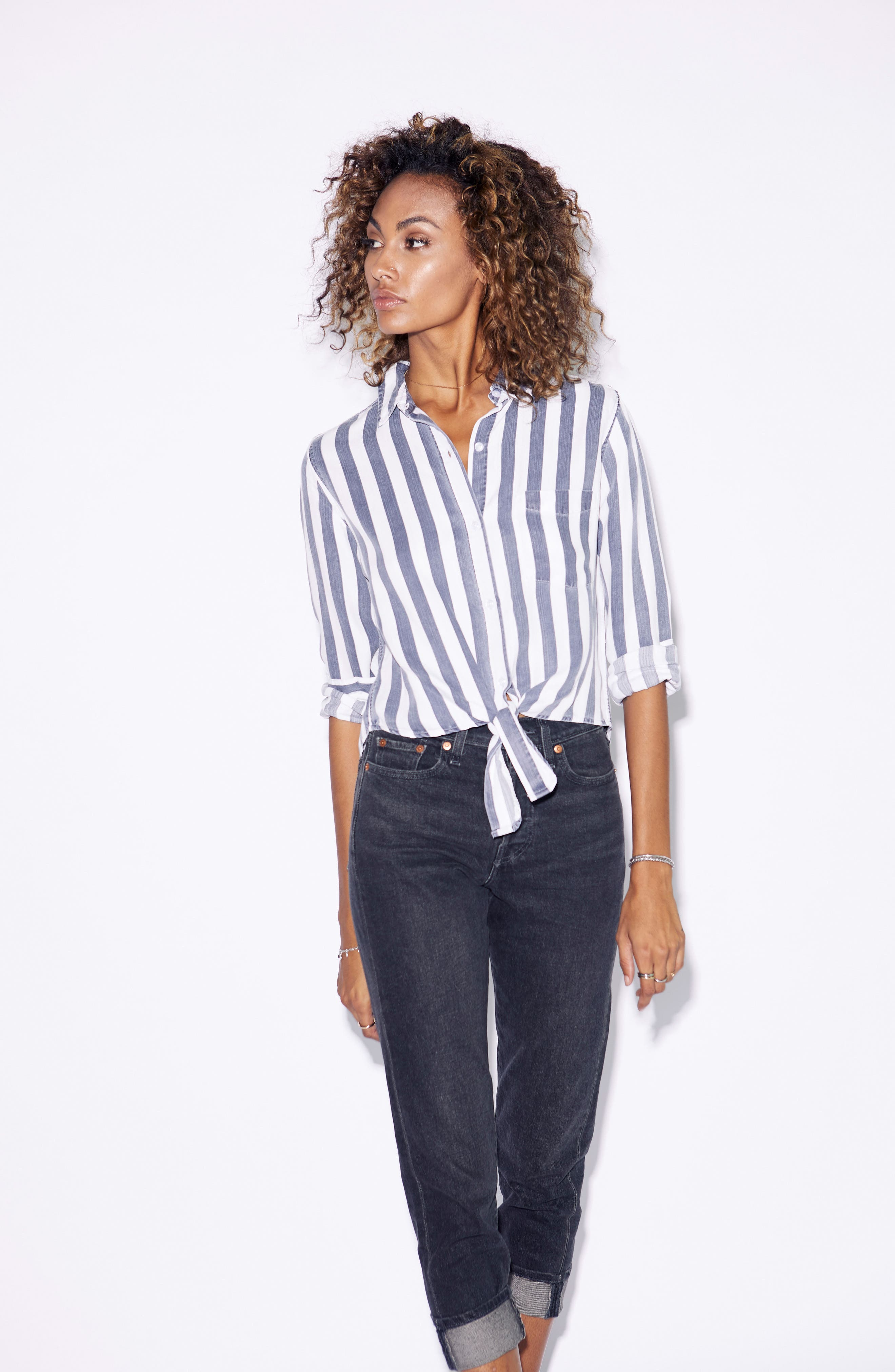 Val Stripe Tie Front Top,                             Alternate thumbnail 7, color,                             400