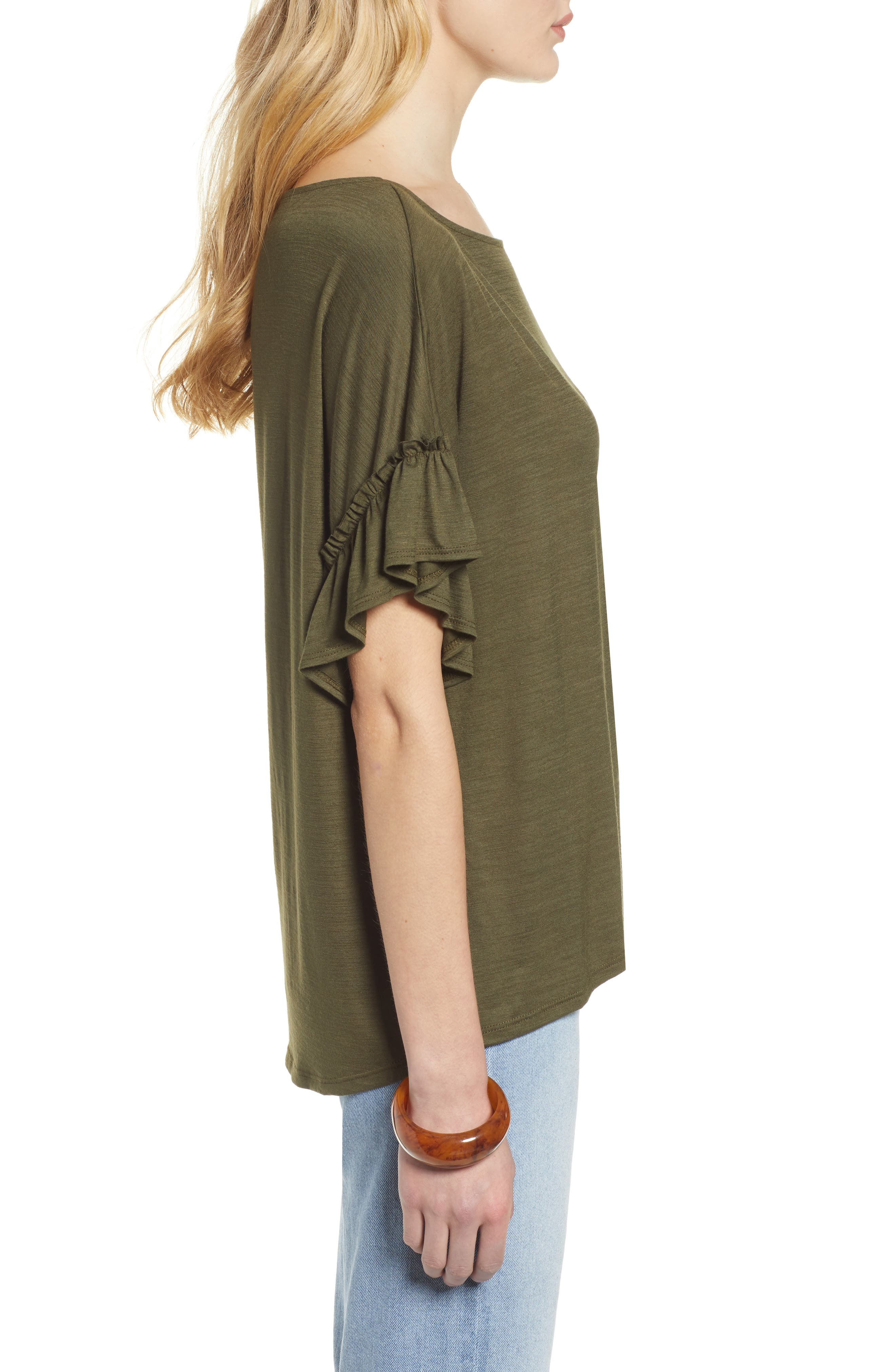Ruffle Sleeve Top,                             Alternate thumbnail 3, color,                             OLIVE