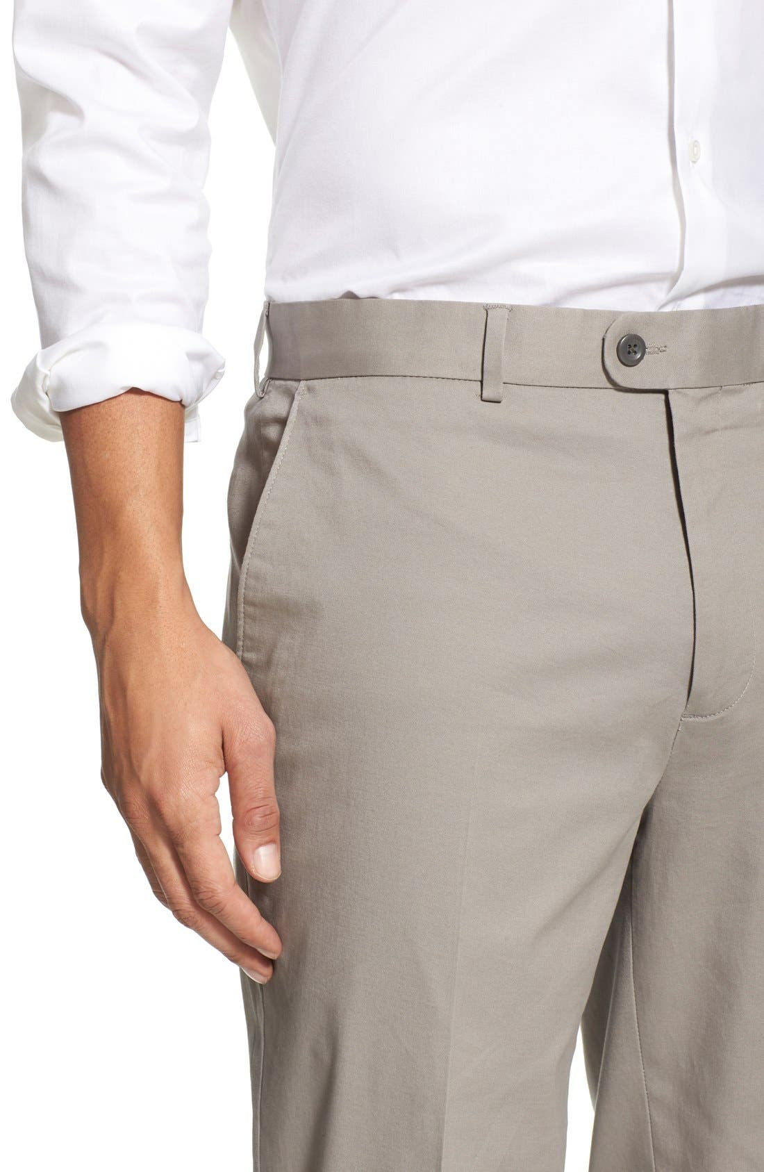 Washed Trim Fit Stretch Cotton Trousers,                             Alternate thumbnail 9, color,