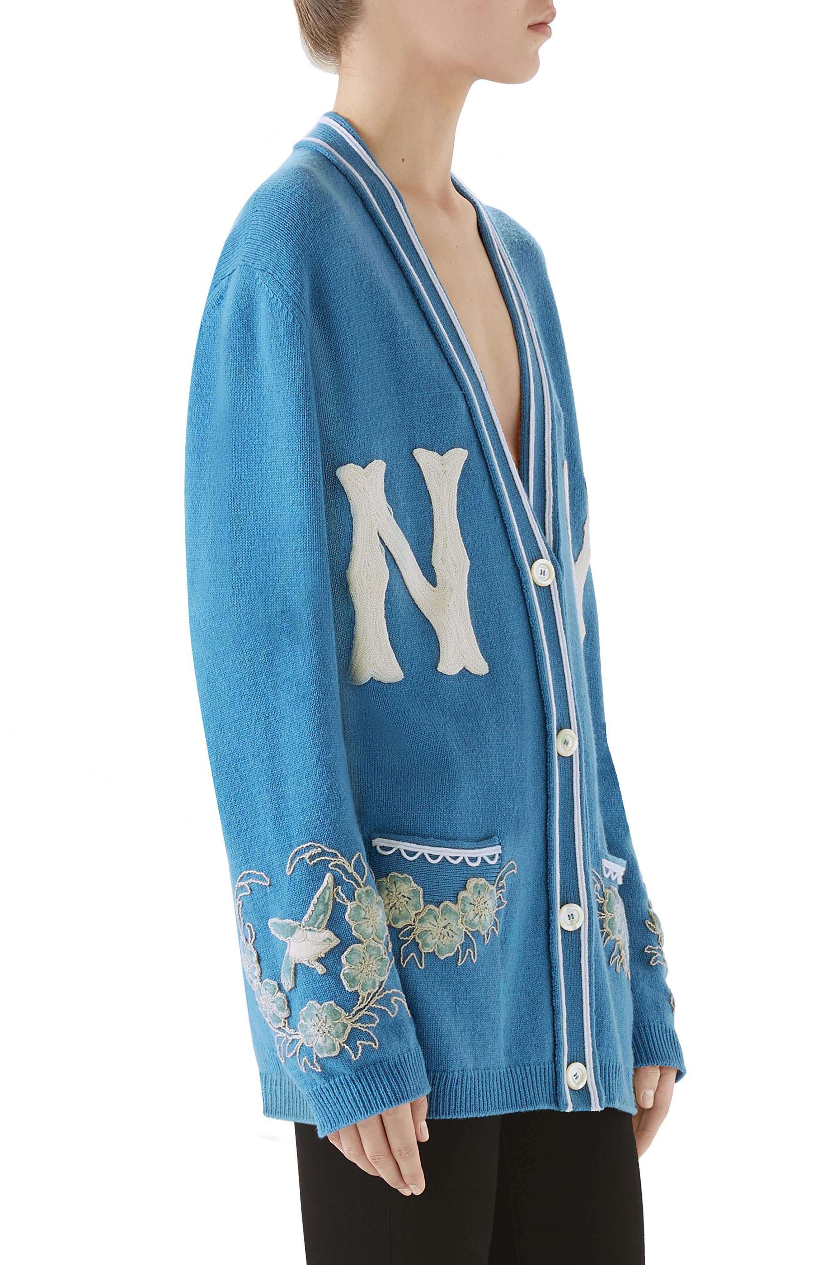 NY Embroidered Wool Cardigan,                             Alternate thumbnail 3, color,                             BLUE
