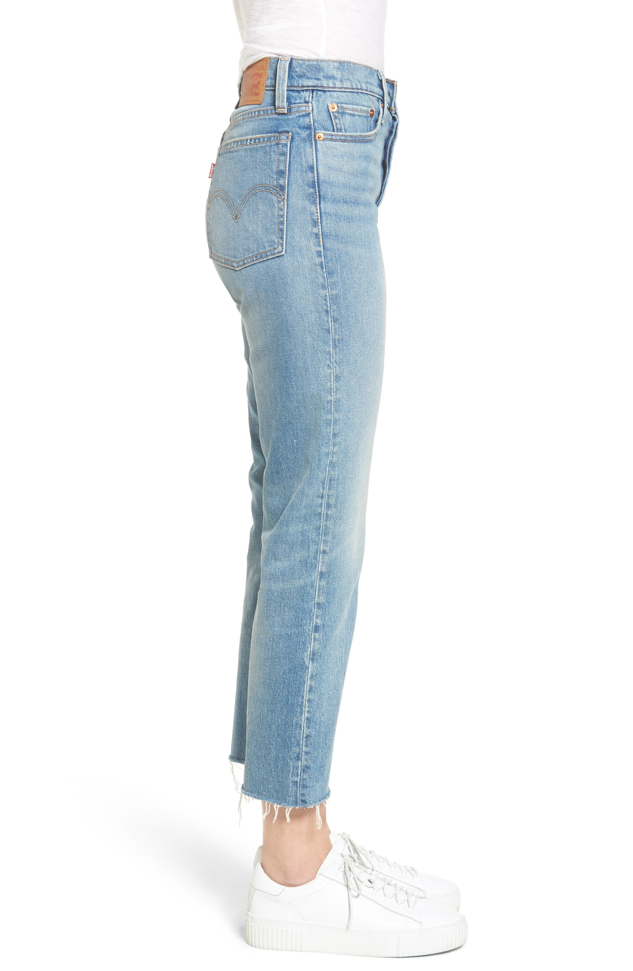 Wedgie Altered Straight Leg Crop Jeans,                             Alternate thumbnail 3, color,