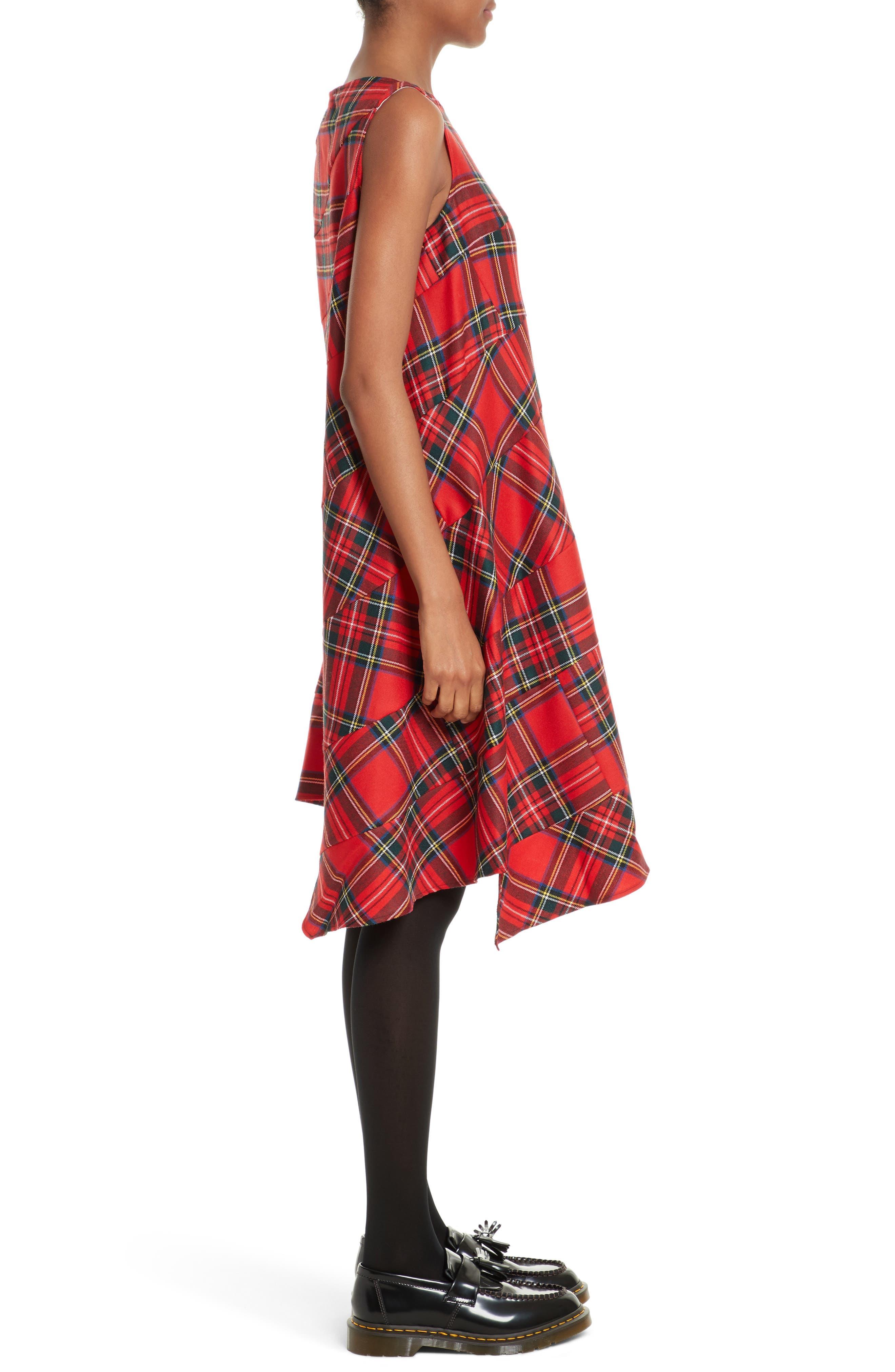 Tartan Plaid Dress,                             Alternate thumbnail 3, color,                             600