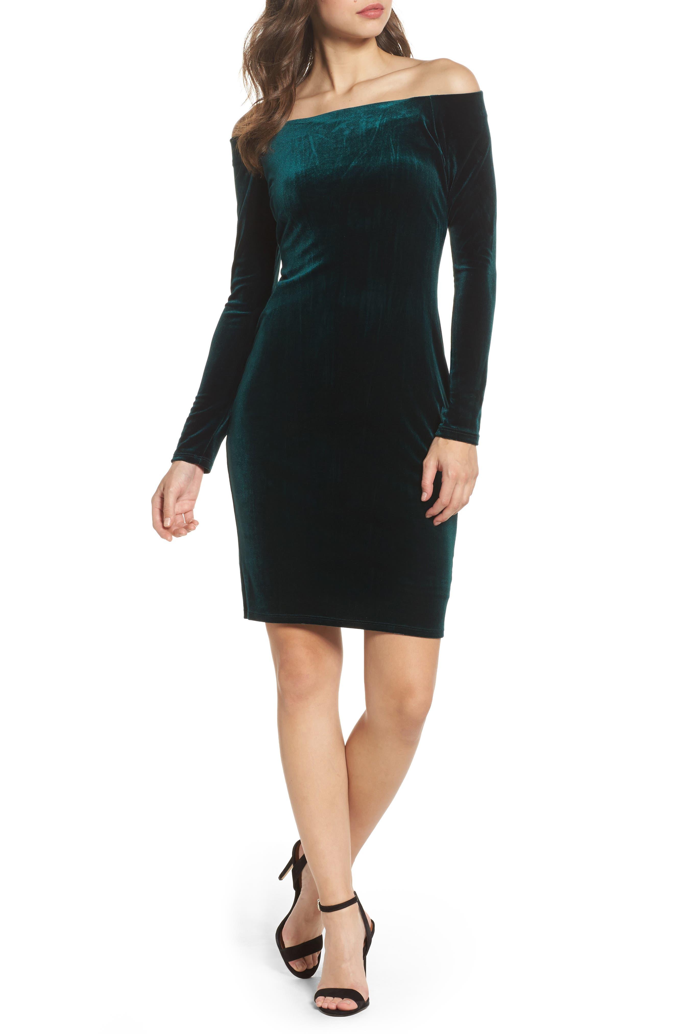 Off the Shoulder Velvet Sheath Dress,                         Main,                         color, 310