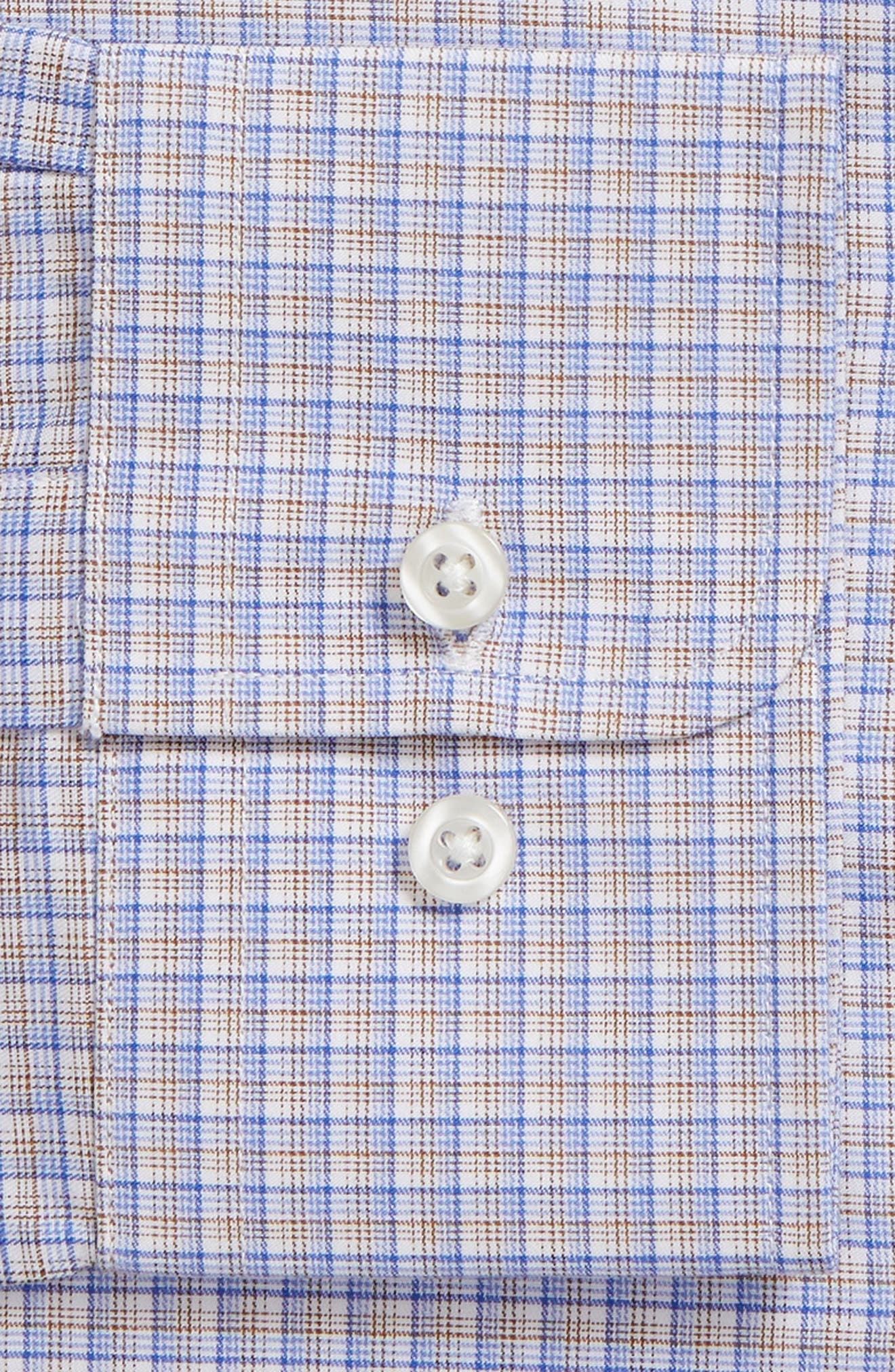 Trim Fit Check Dress Shirt,                             Alternate thumbnail 6, color,                             CHOCOLATE