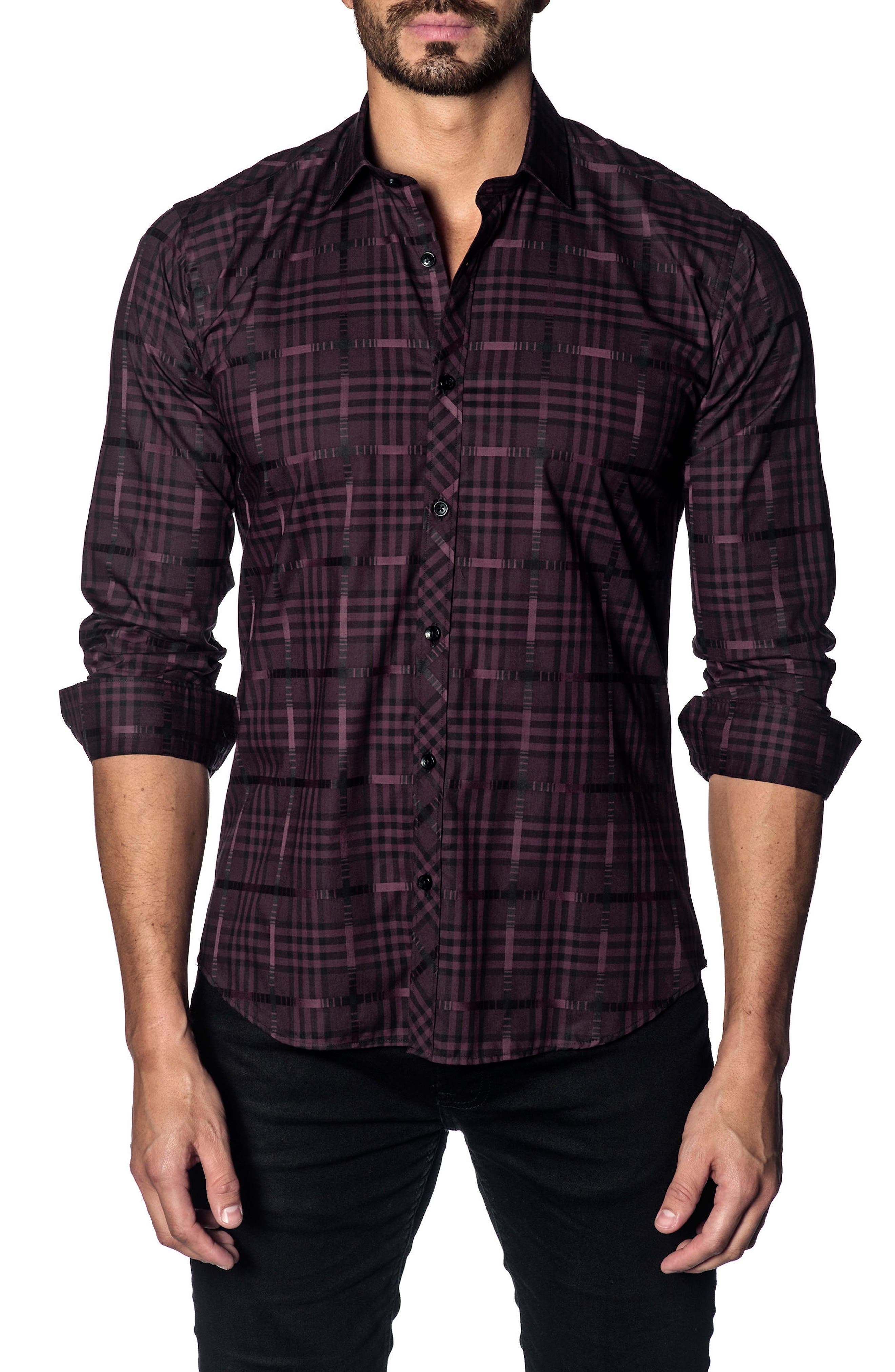 Slim Fit Plaid Sport Shirt, Main, color, PLUM CHECK