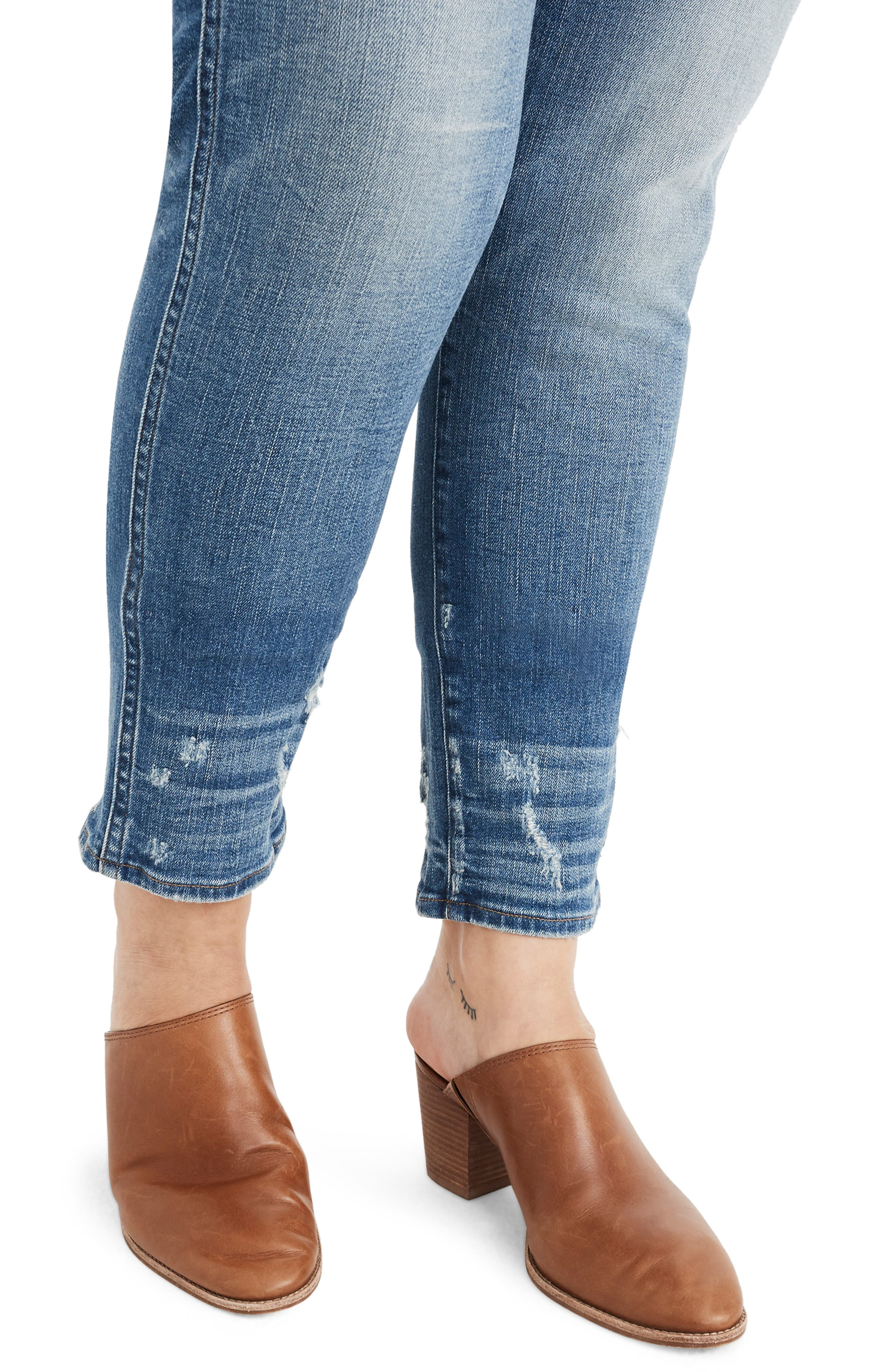 MADEWELL,                             Distressed Button Front High Waist Slim Straight Jeans,                             Alternate thumbnail 6, color,                             CAROLINE