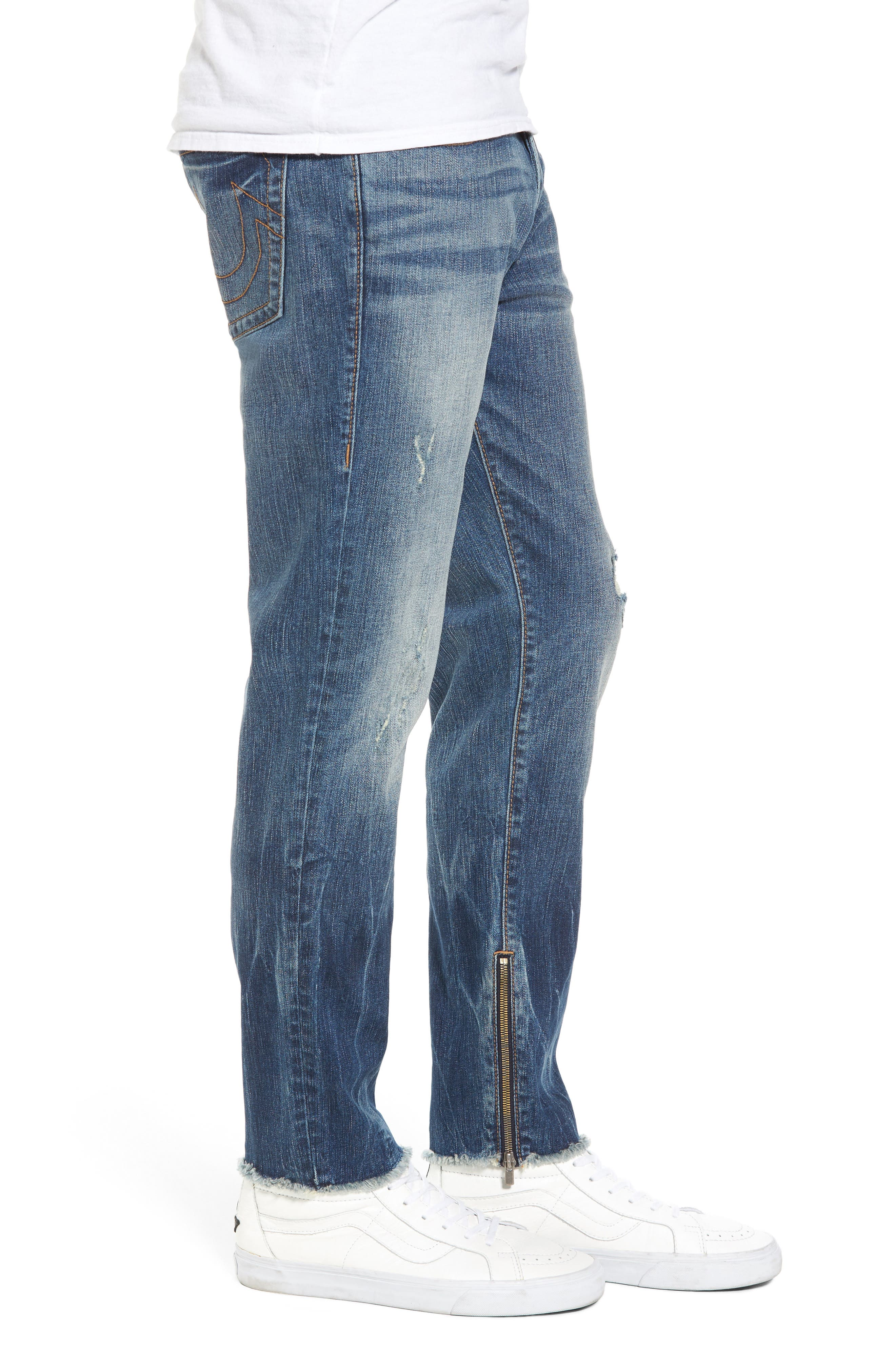 Finn Frayed Skinny Fit Jeans,                             Alternate thumbnail 3, color,                             402