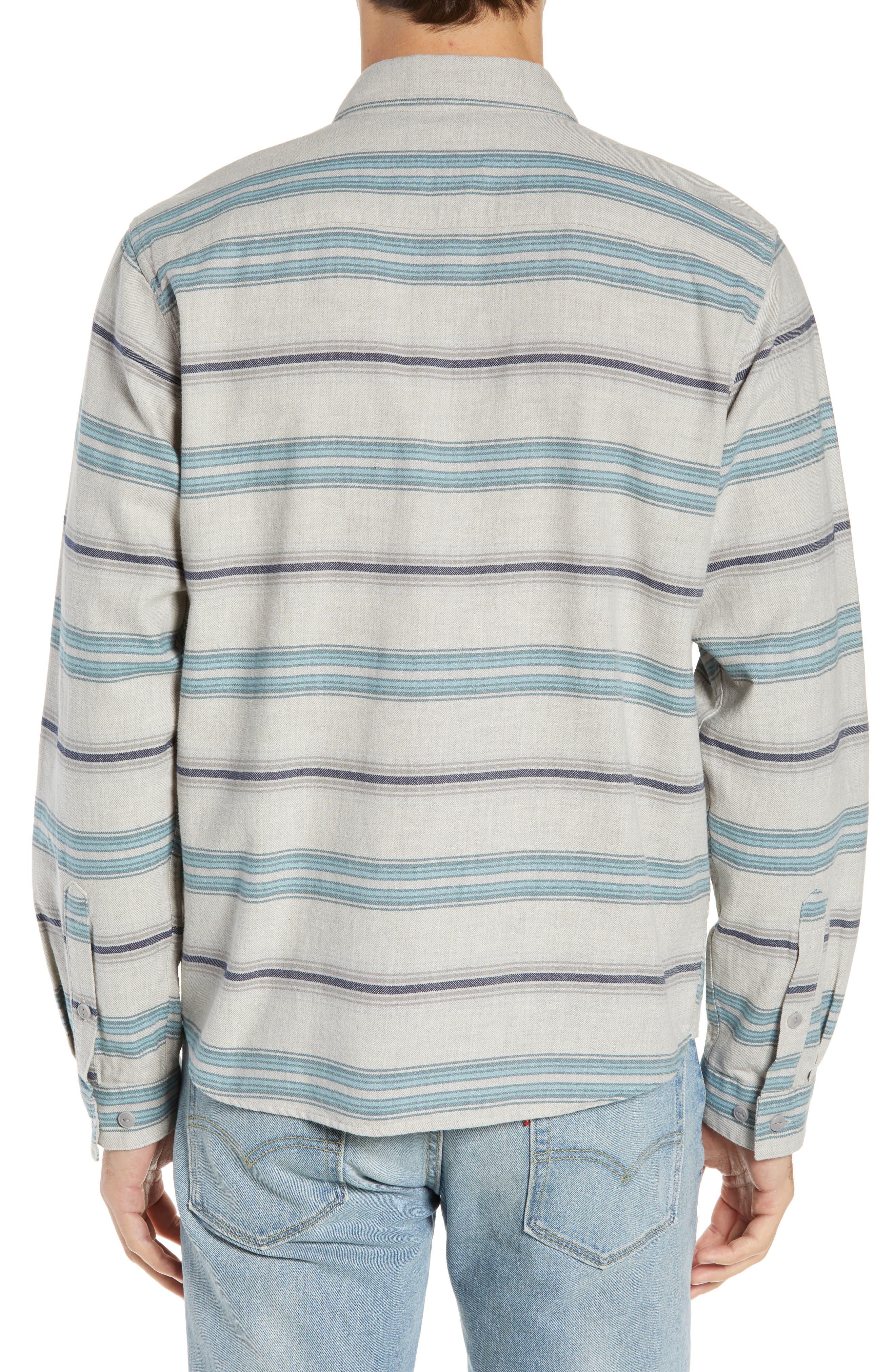 PATAGONIA,                             Regular Fit Organic Cotton Flannel Shirt,                             Alternate thumbnail 3, color,                             TARKINE STRIPE DRIFTER GREY