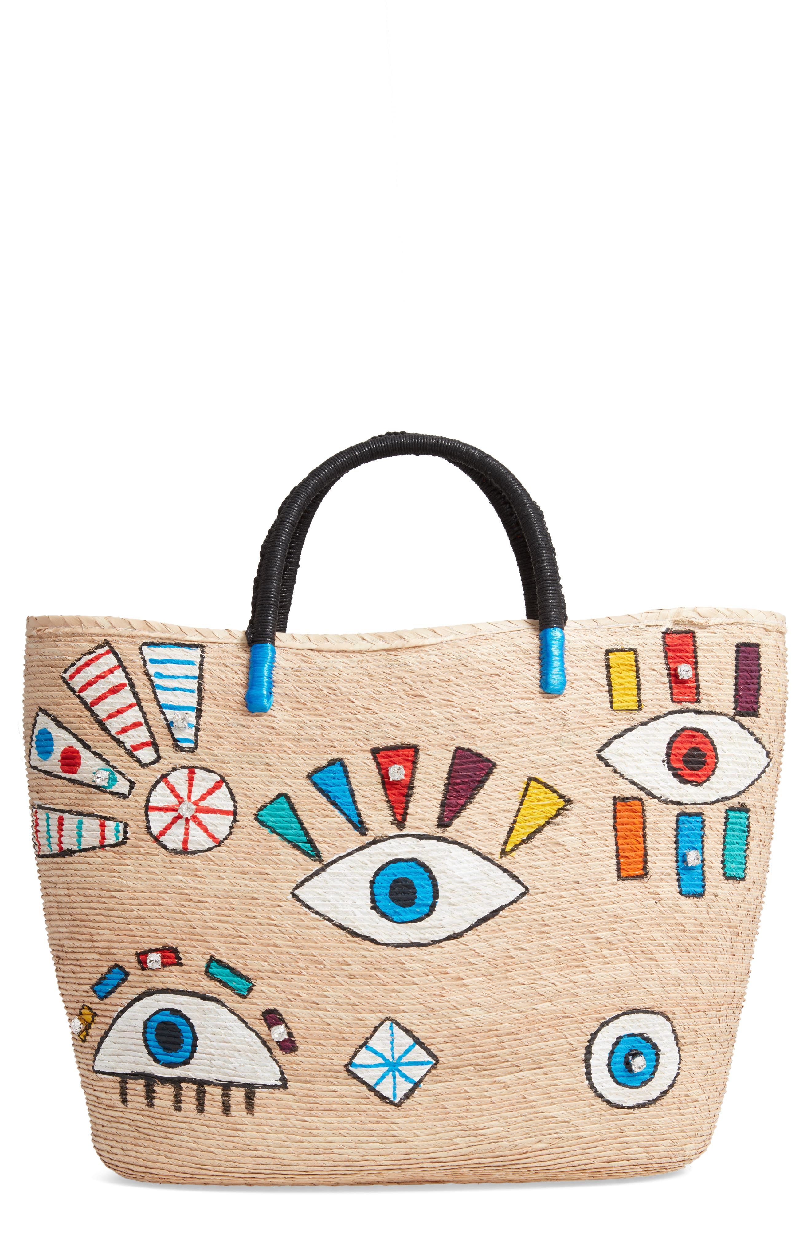 Agua D' Mar Funky Eyes Straw Bucket Bag,                             Main thumbnail 1, color,                             MULTI