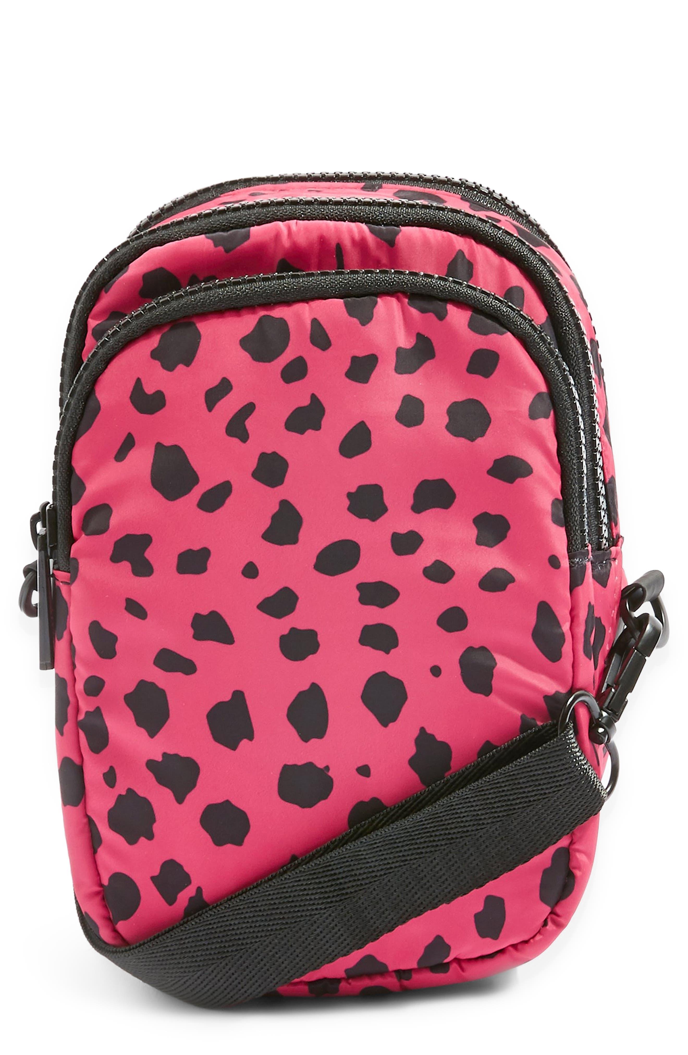 Leopard Print Nylon Shoulder Bag,                         Main,                         color, 650