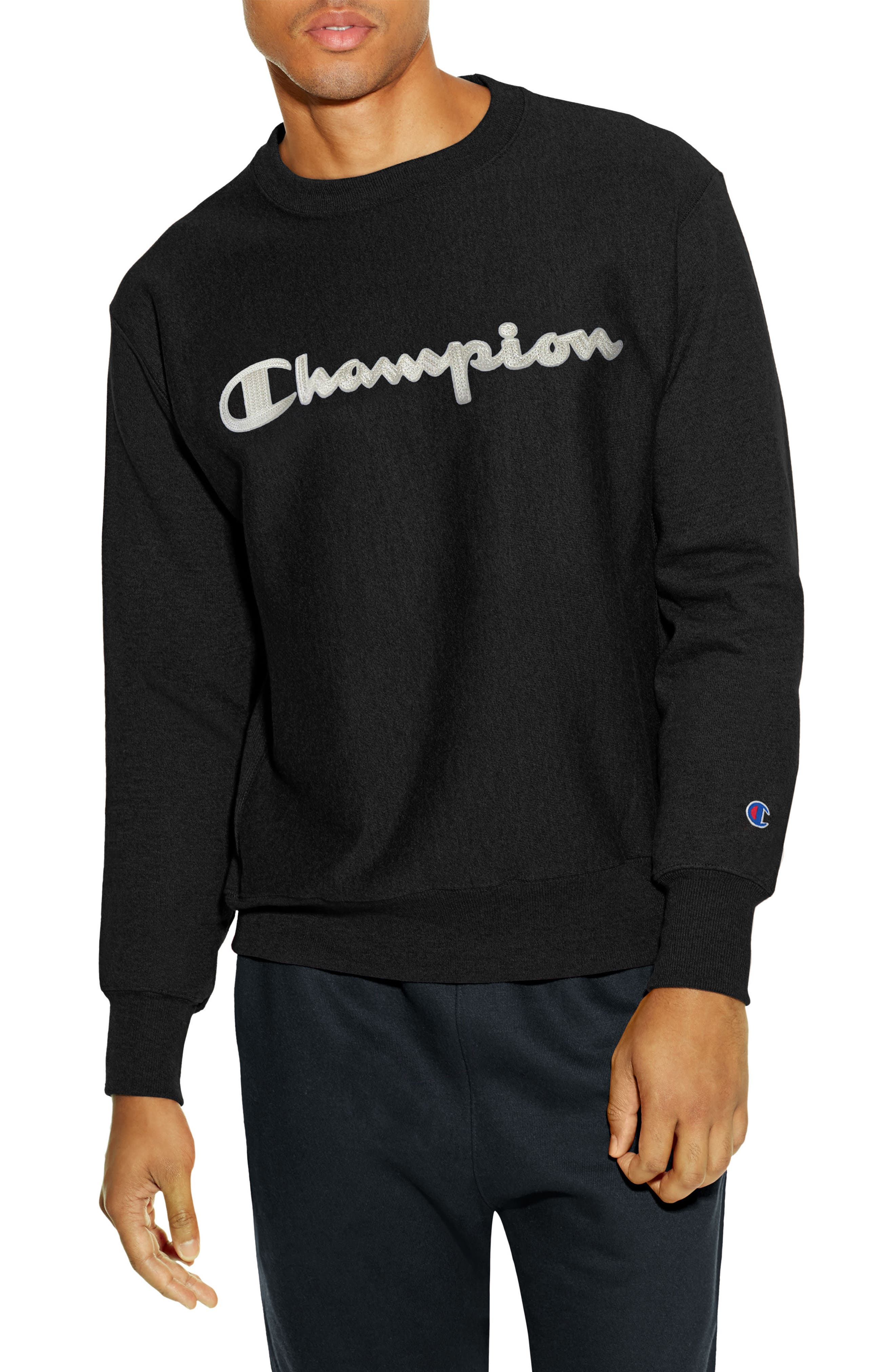 Reverse Weave Crewneck Cotton Blend Sweatshirt,                             Main thumbnail 1, color,                             001