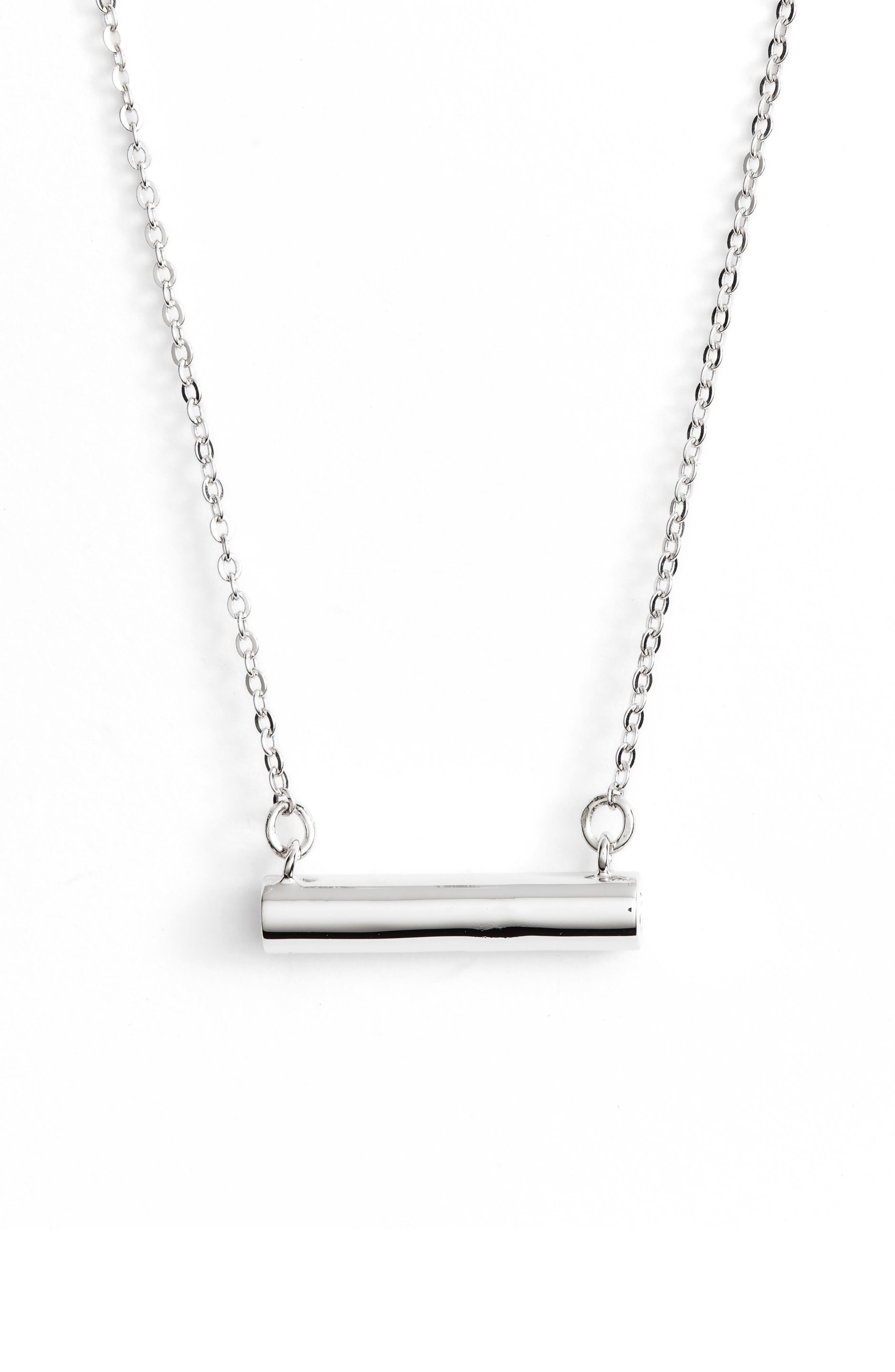 Smiley Face Bar Pendant Necklace,                         Main,                         color, SILVER