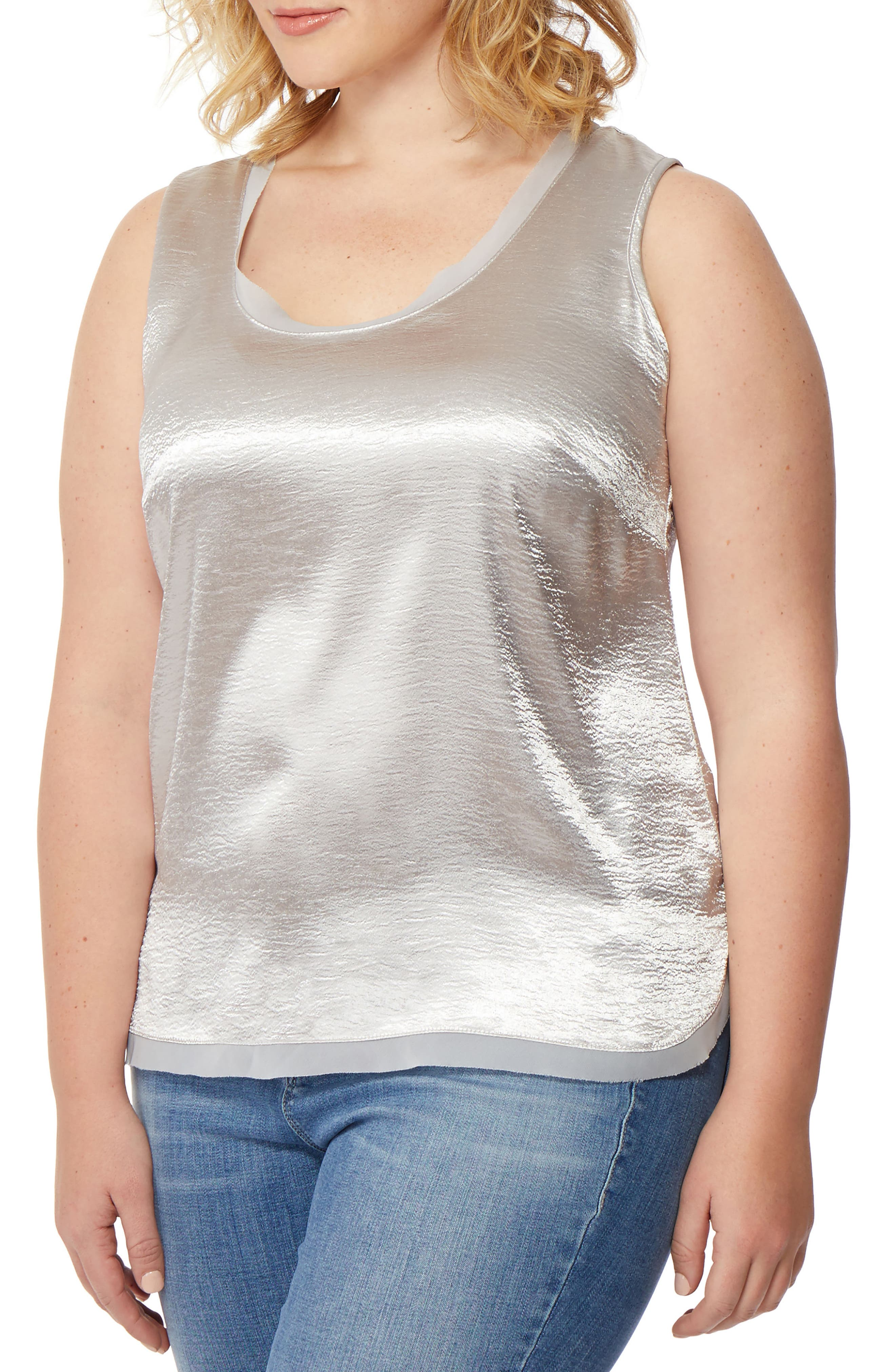 Hammered Satin Tank,                             Alternate thumbnail 3, color,                             070