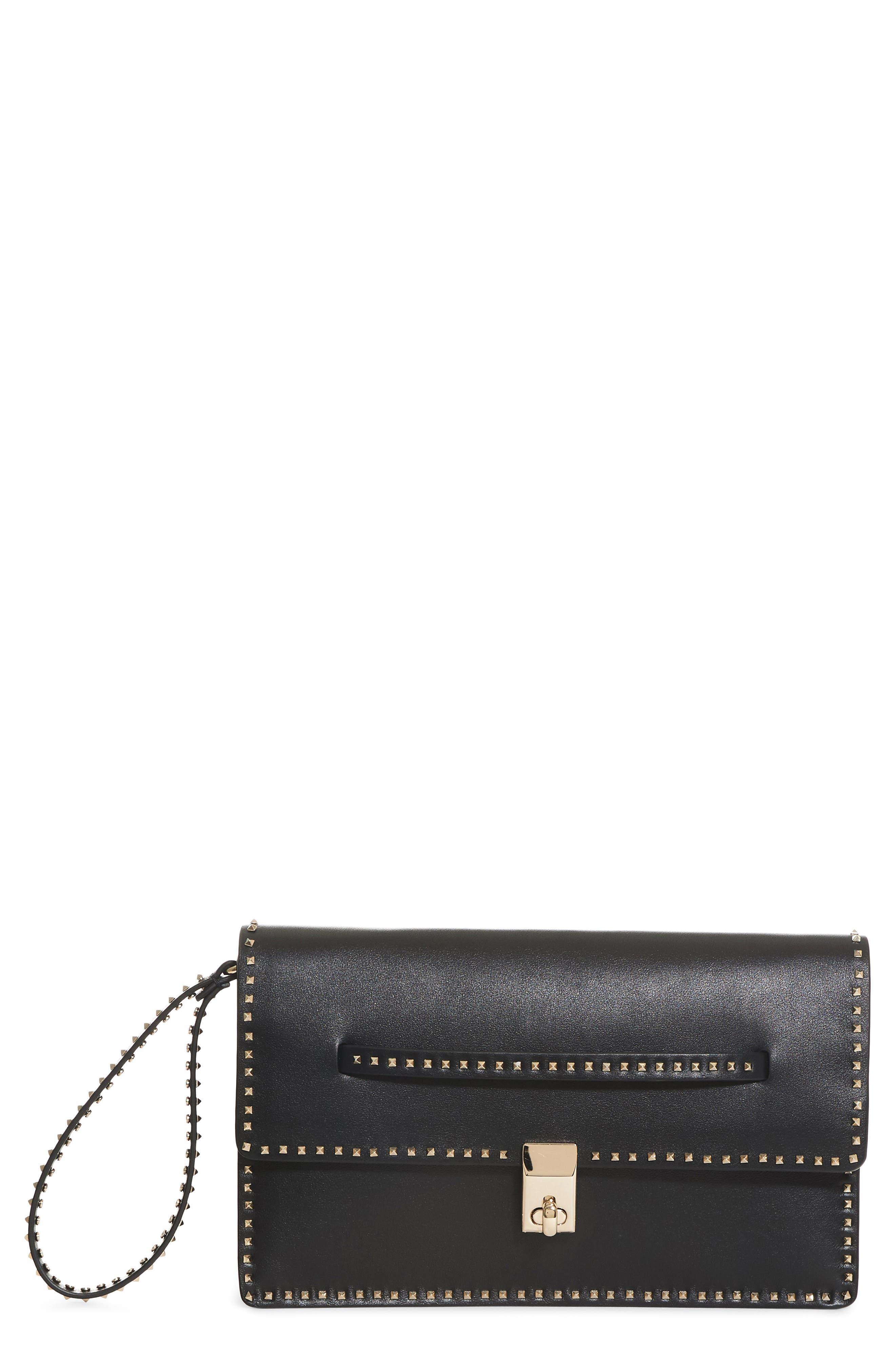 Rockstud Calfskin Leather Clutch,                         Main,                         color, 001
