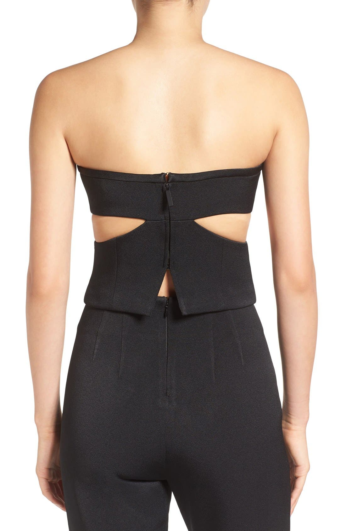 KENDALL + KYLIE,                             'Tuxedo' Cutout Strapless Bustier,                             Alternate thumbnail 4, color,                             001