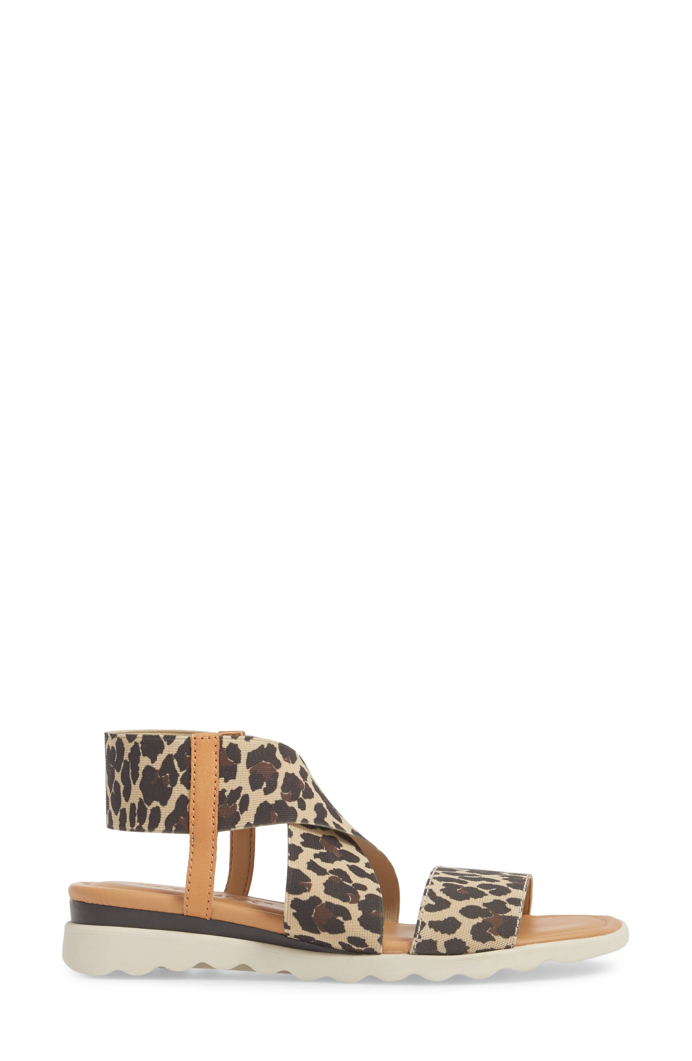 Extra Sandal,                             Alternate thumbnail 3, color,                             DUNE LEOPARD FABRIC