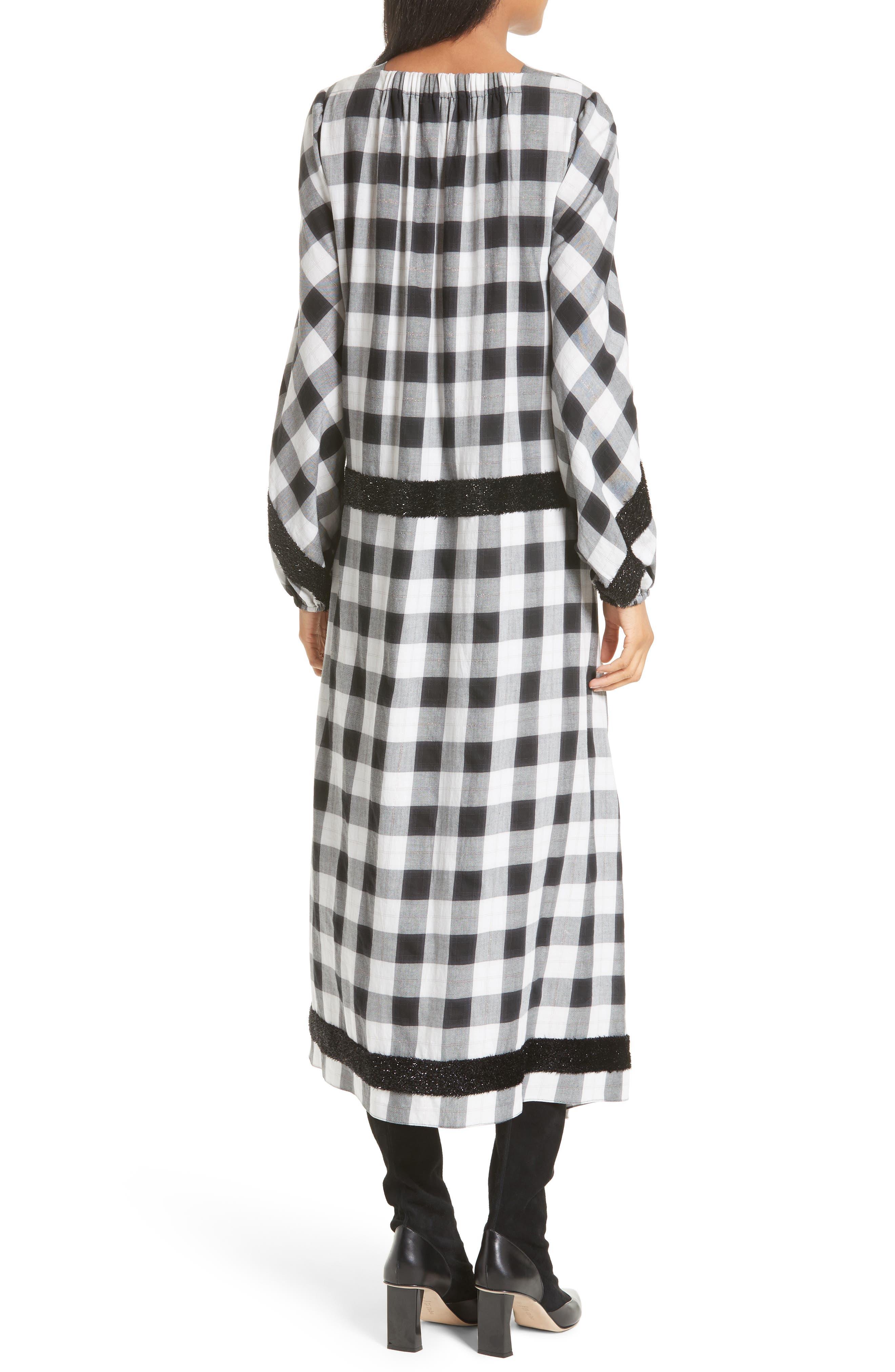 Bouclé Trim Plaid Maxi Dress,                             Alternate thumbnail 2, color,                             001