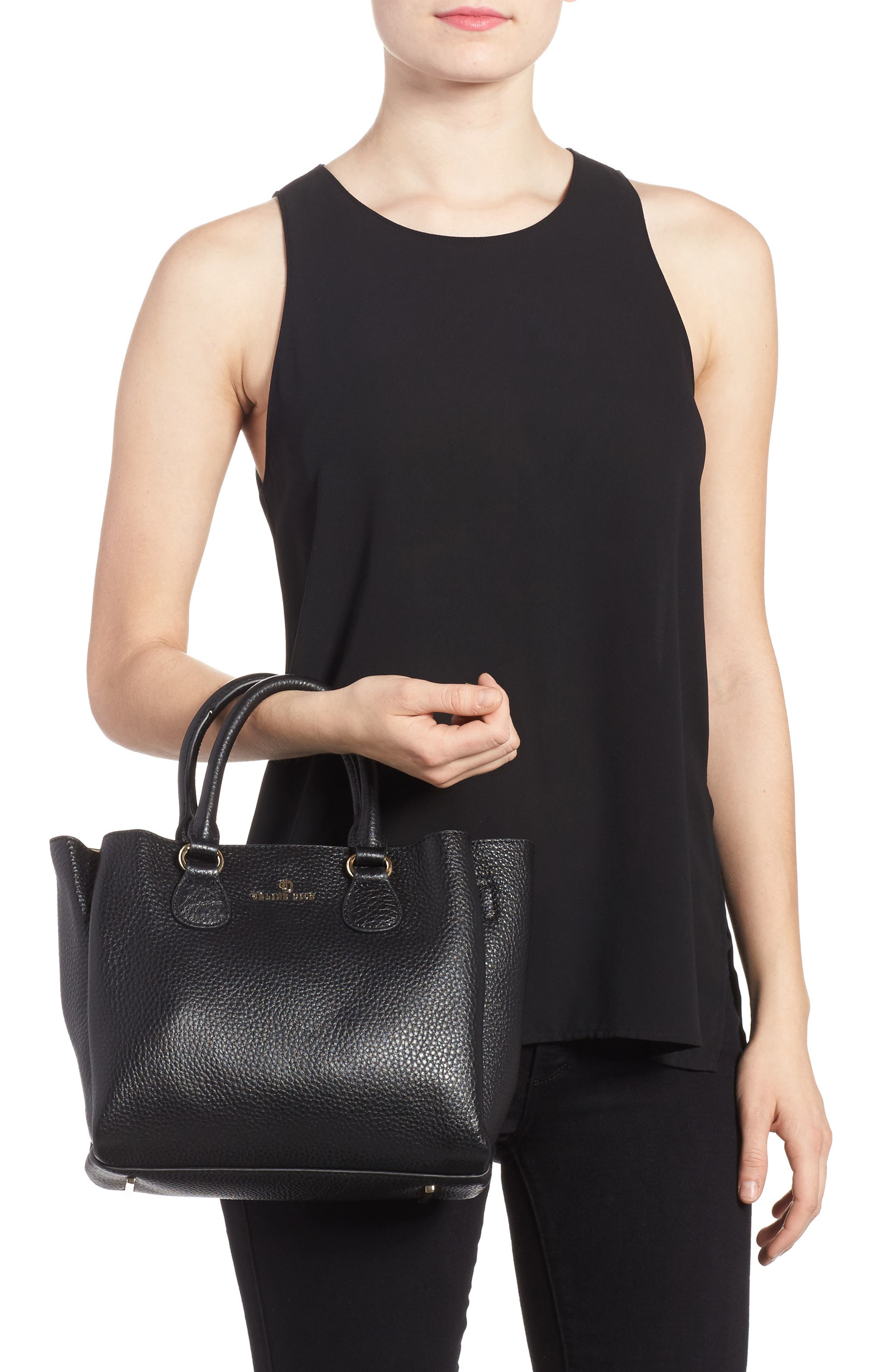 Céline Dion Small Adagio Leather Satchel,                             Alternate thumbnail 6, color,