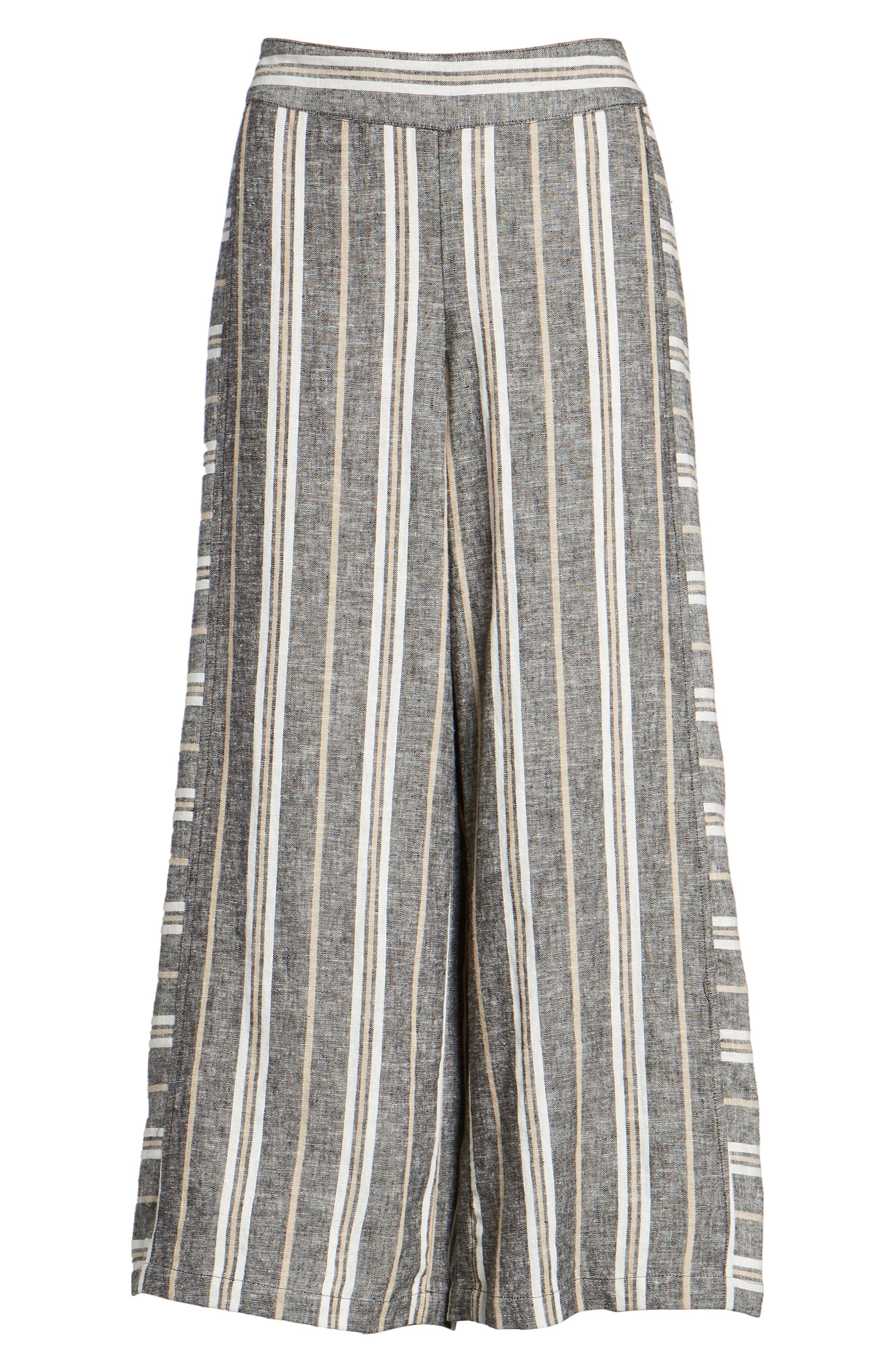 Stripe Linen Blend Pants,                             Alternate thumbnail 7, color,                             001