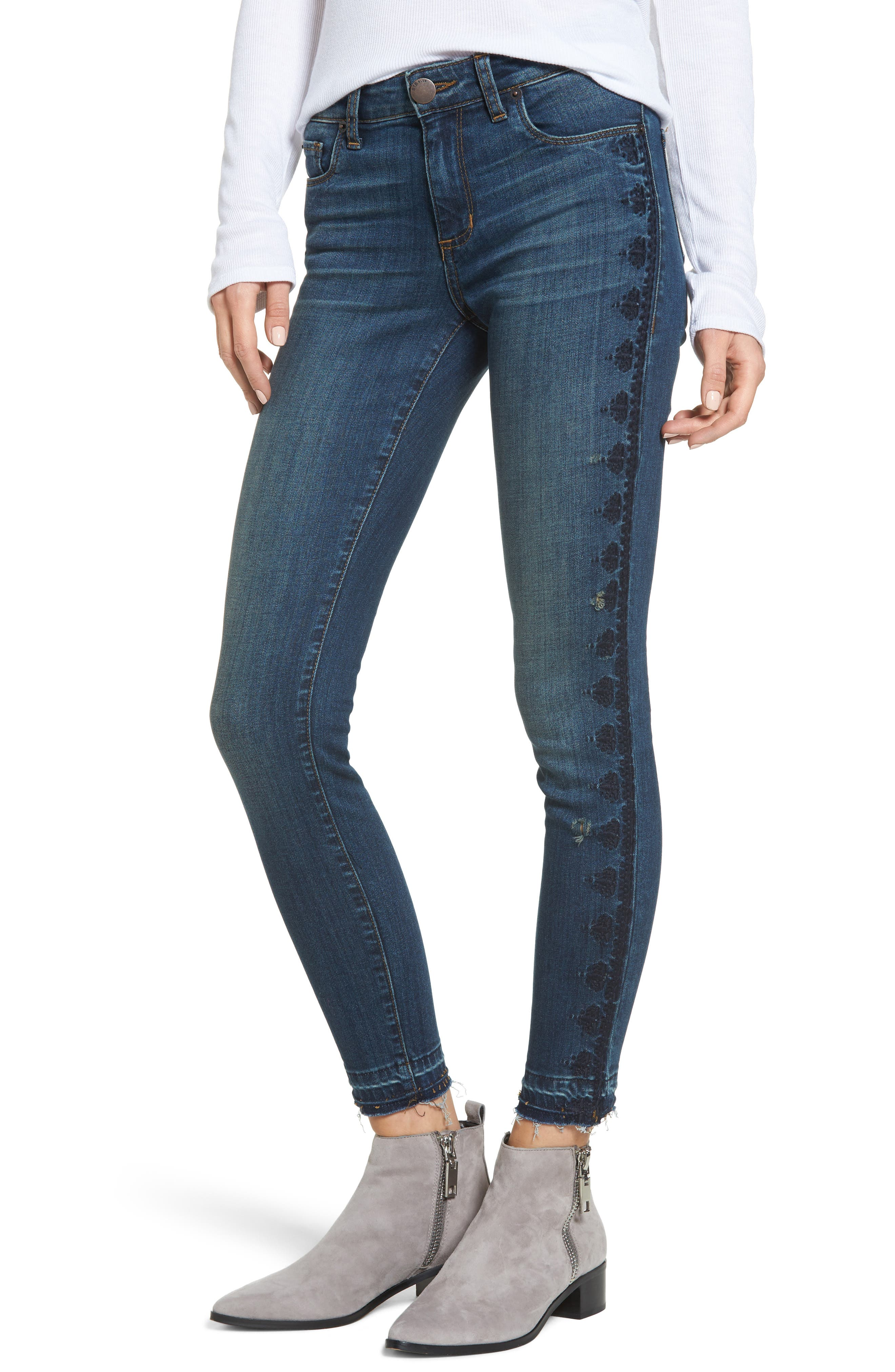 Emma Embroidered Skinny Ankle Jeans,                             Main thumbnail 1, color,