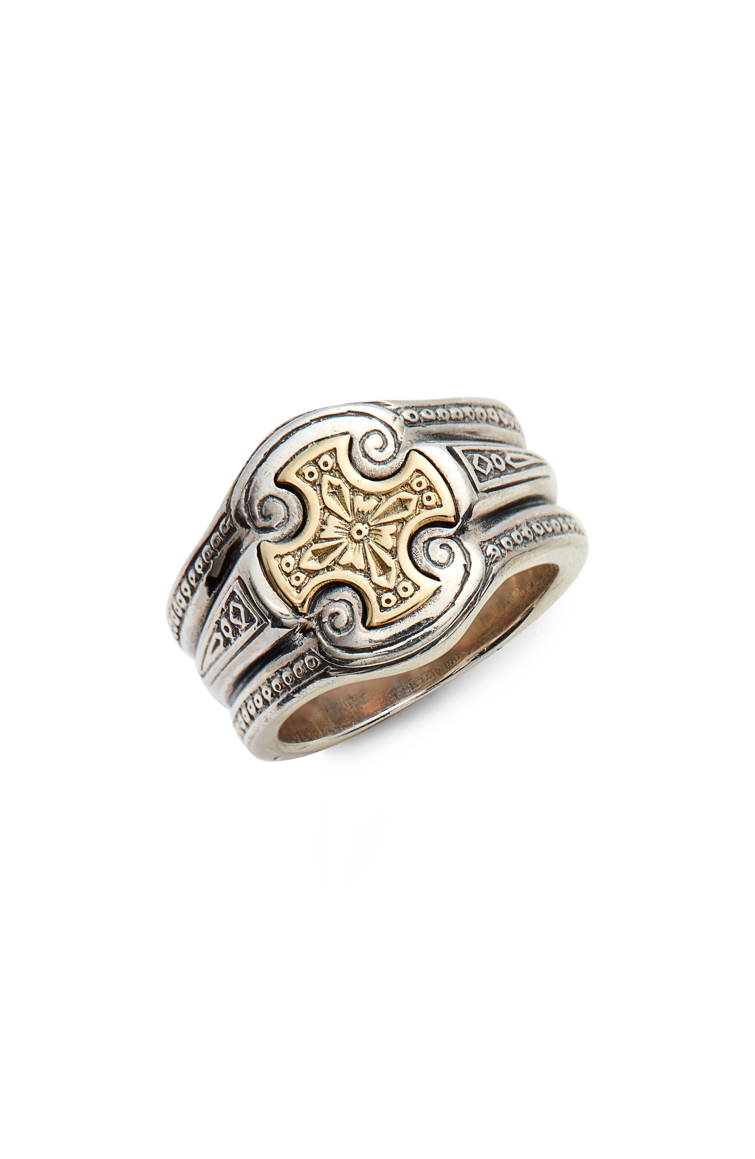 Stavros Cross Signet Ring,                             Main thumbnail 1, color,                             SILVER/ GOLD