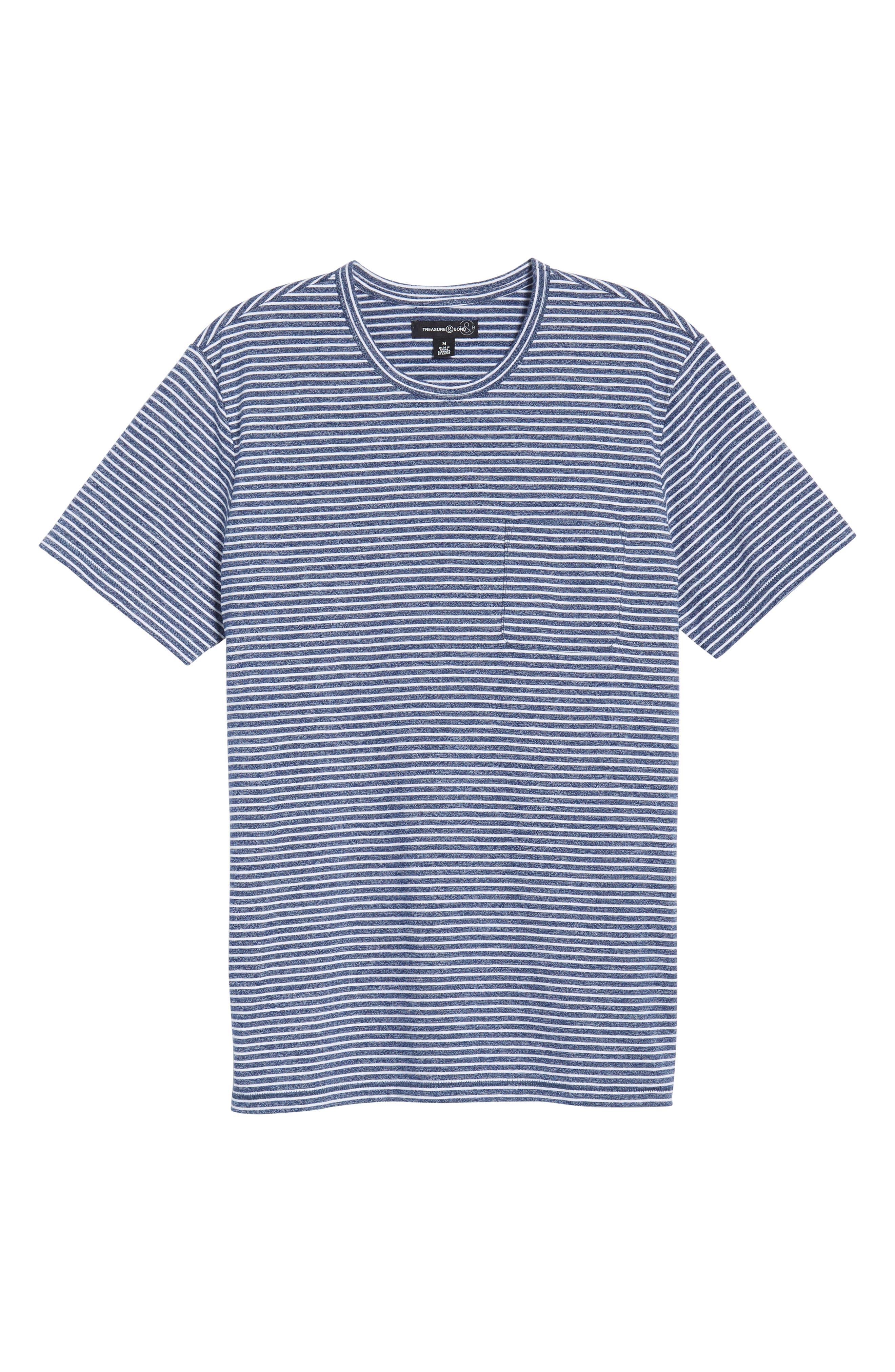 Yarn Dyed Stripe T-Shirt,                             Alternate thumbnail 6, color,                             NAVY IRIS STRIPE