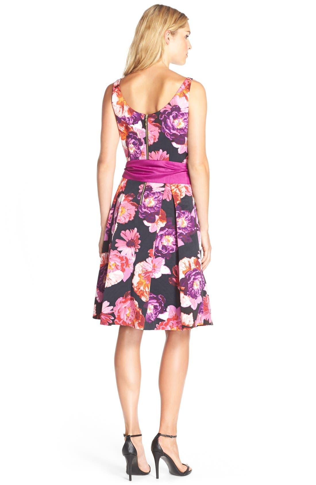 ELIZA J,                             Floral Print Faille Fit& Flare Dress,                             Alternate thumbnail 6, color,                             660