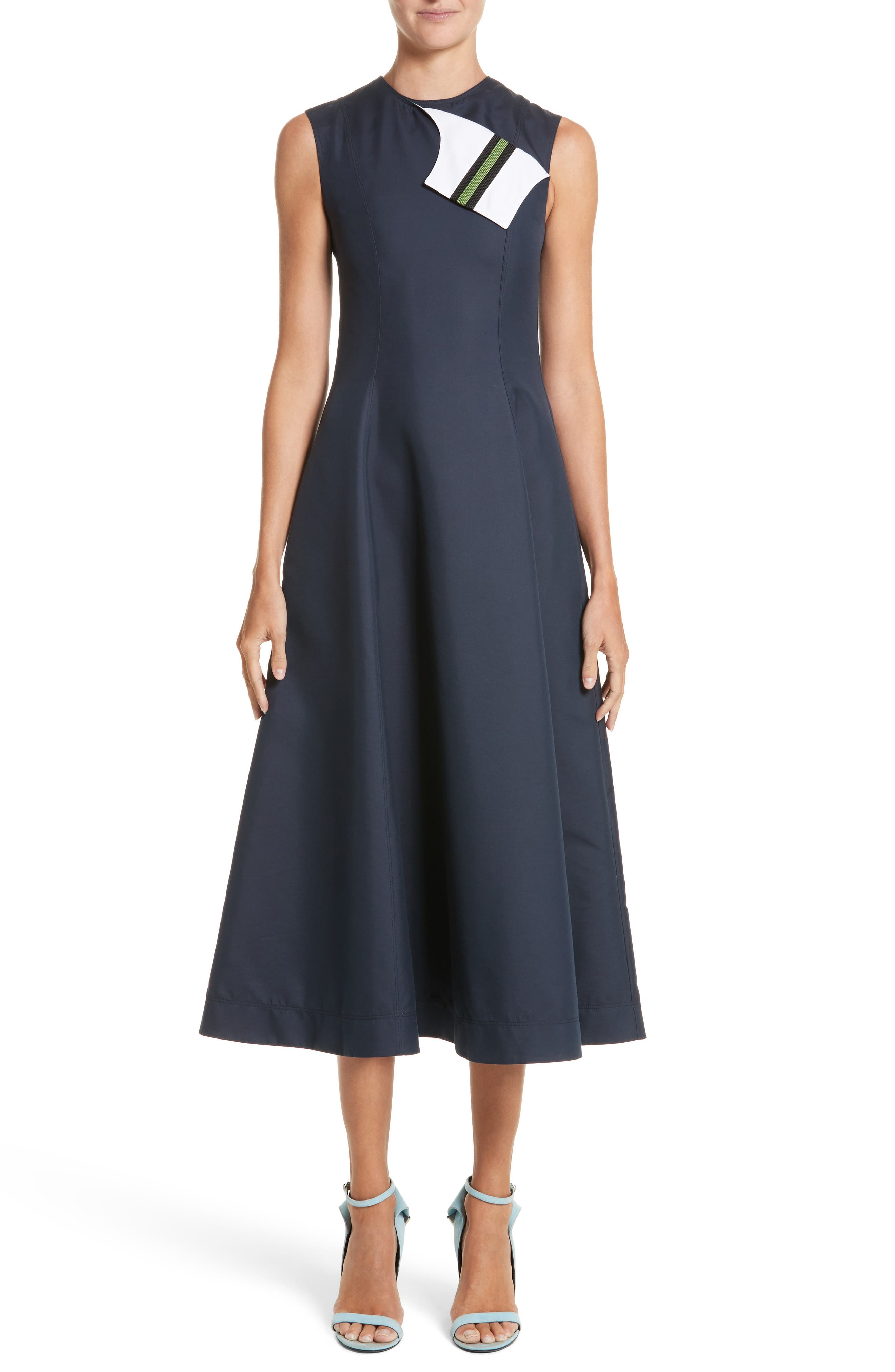 Cotton & Silk Dress,                         Main,                         color, NAVY