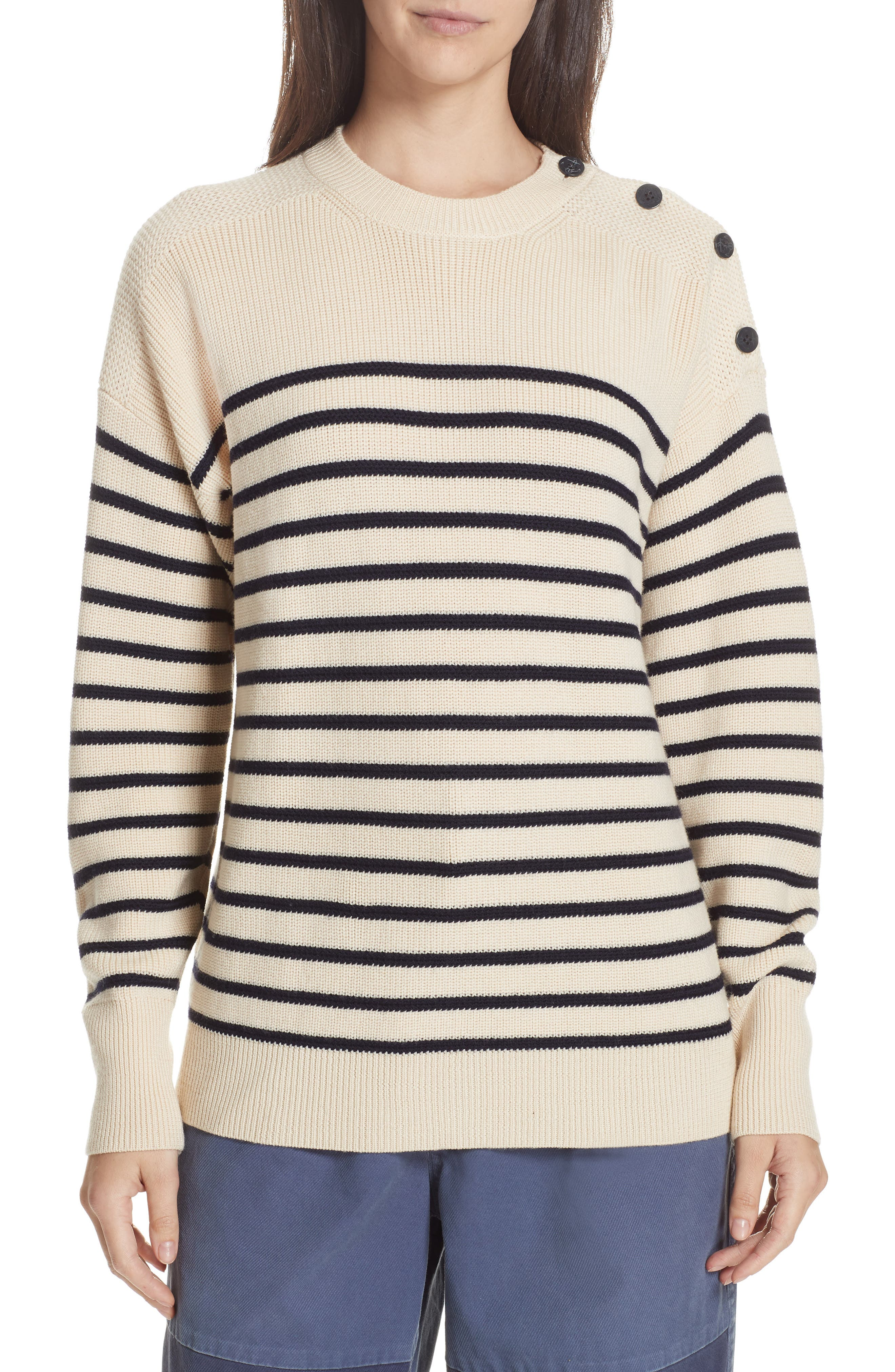 Stripe Wool Sweater,                             Main thumbnail 1, color,                             CREAM/ NAVY