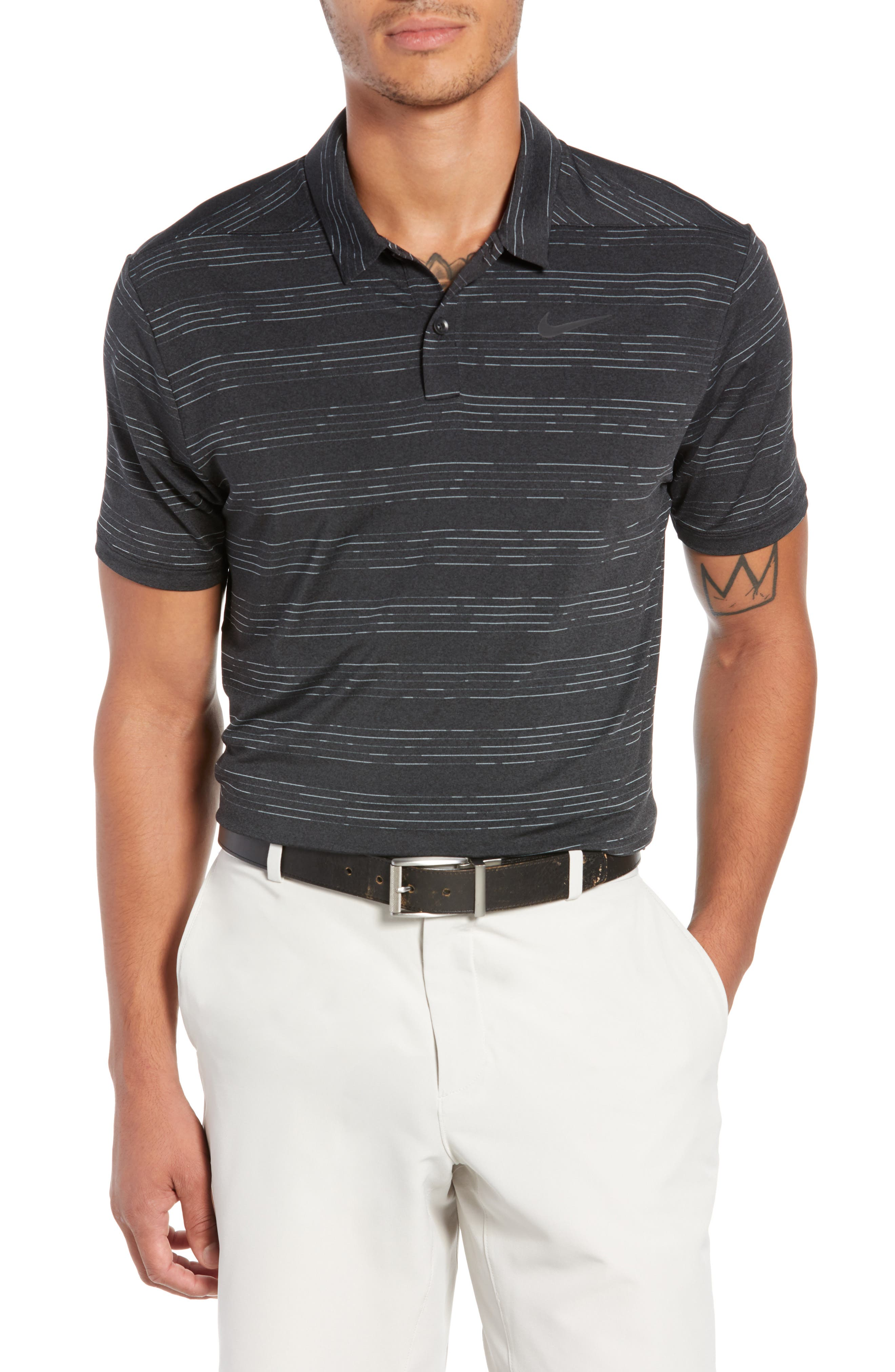 Dry Heather Stripe Polo,                             Main thumbnail 1, color,                             ANTHRACITE/ BLACK/ WOLF GREY