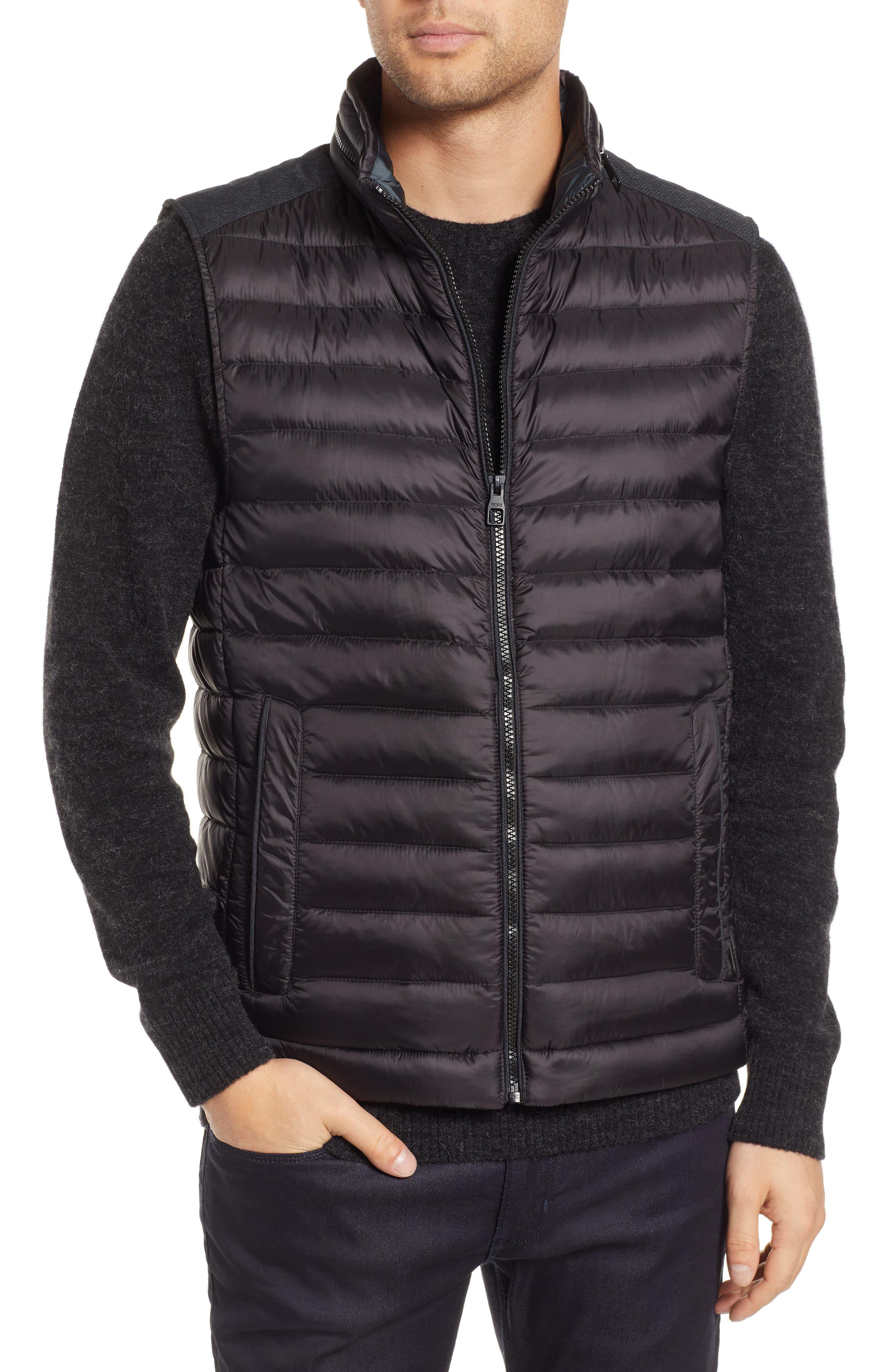Down Puffer Hooded Vest,                             Alternate thumbnail 4, color,                             BLACK
