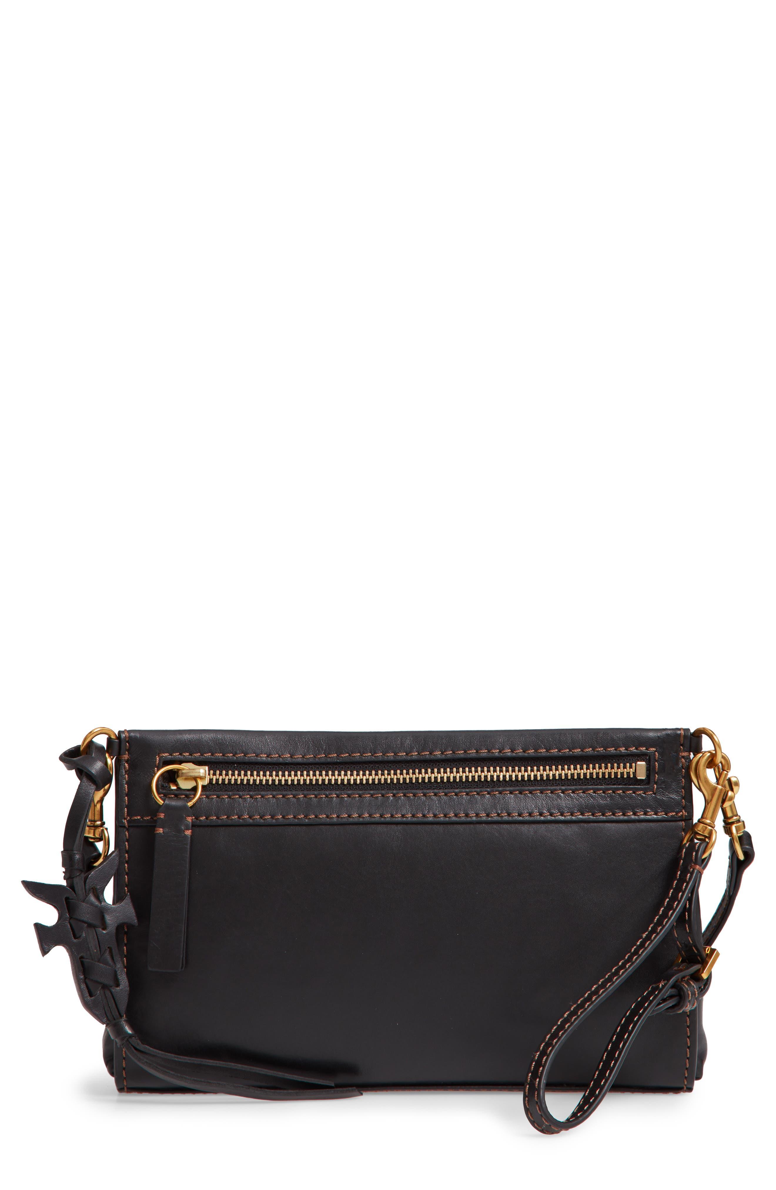 Carson Leather Wristlet/Clutch,                         Main,                         color, BLACK