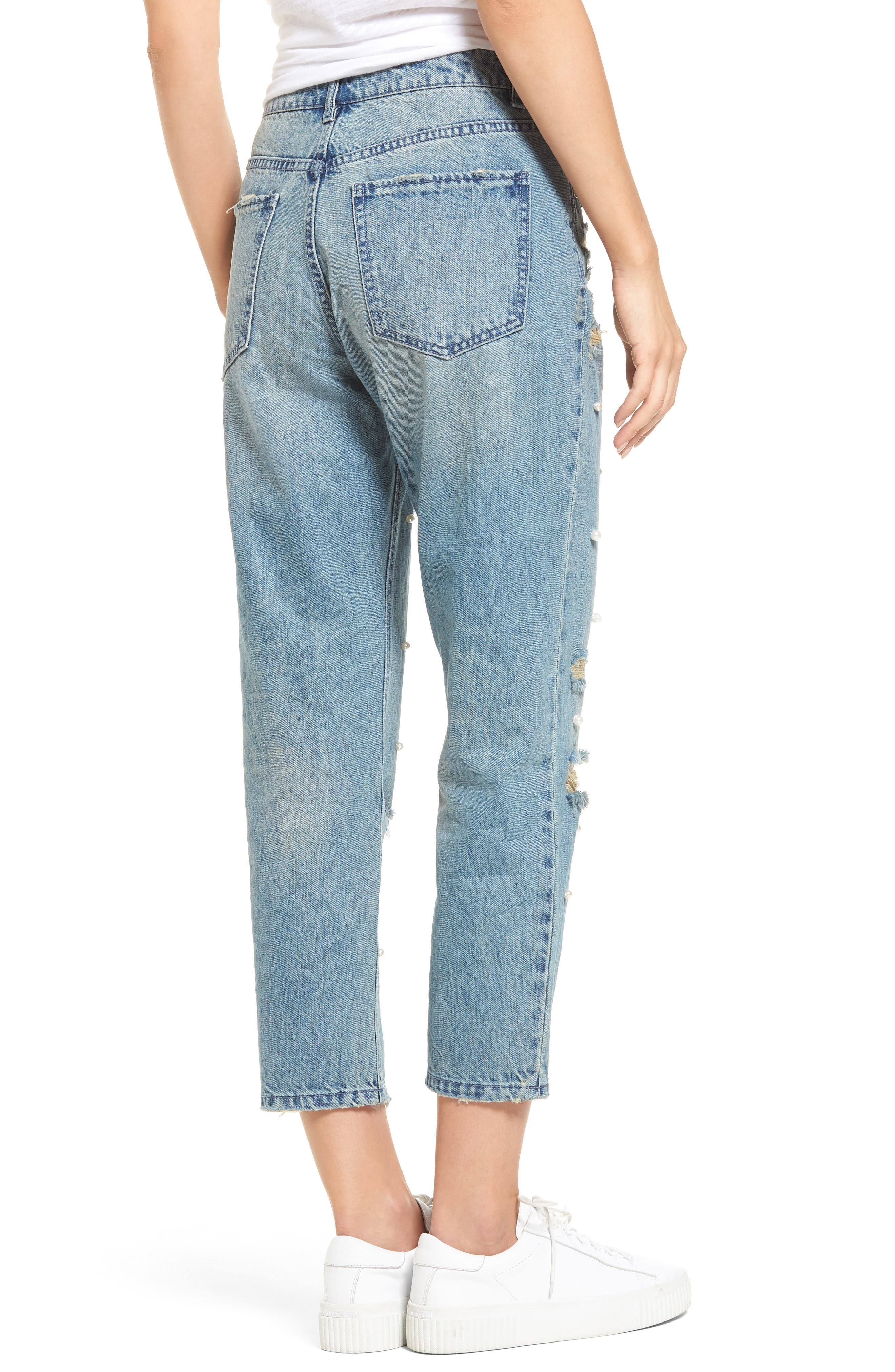 Distressed Pearl Boyfriend Jeans,                             Alternate thumbnail 2, color,                             430